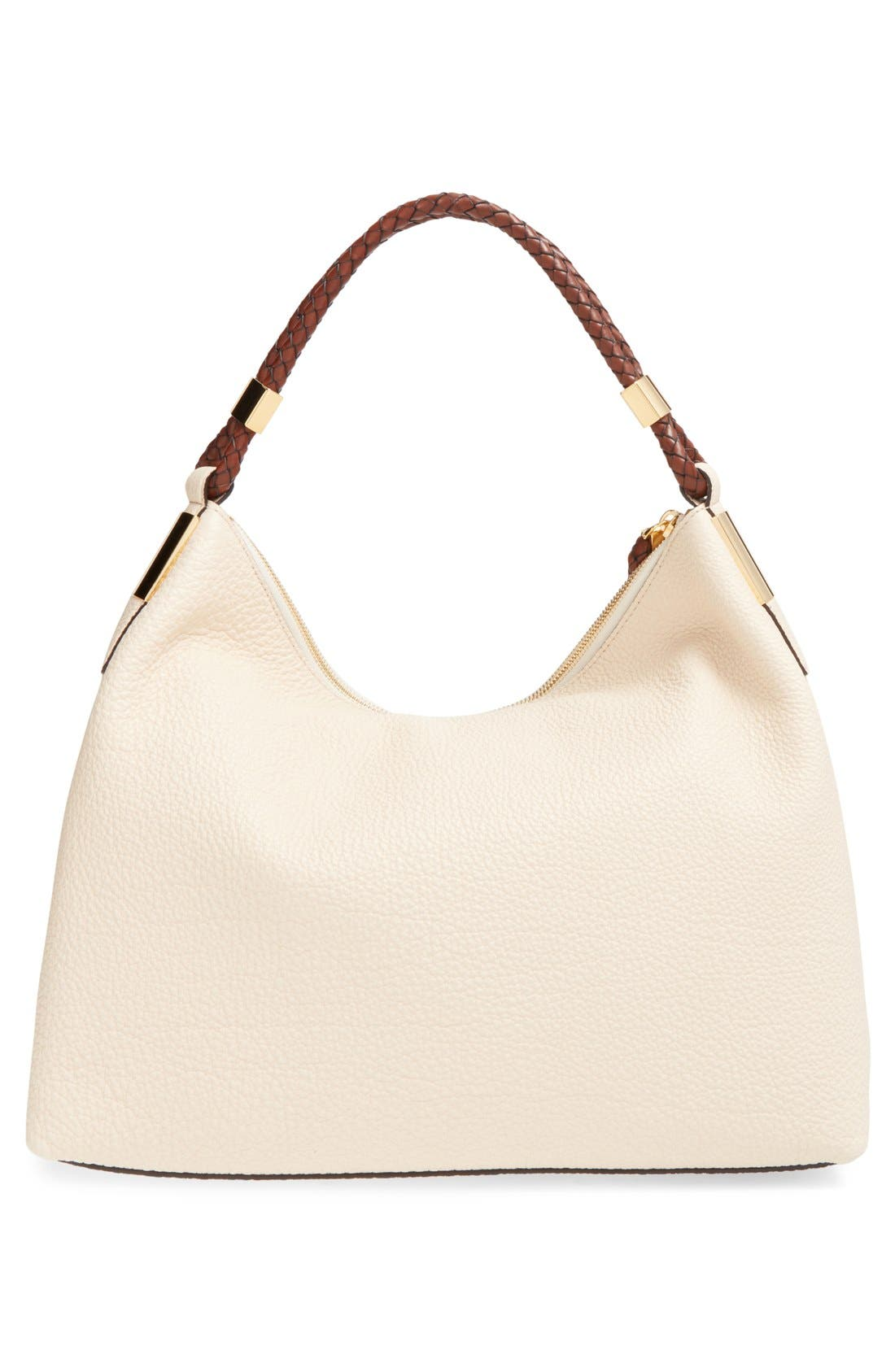 'Large Skorpios' Leather Hobo,                             Alternate thumbnail 3, color,                             100