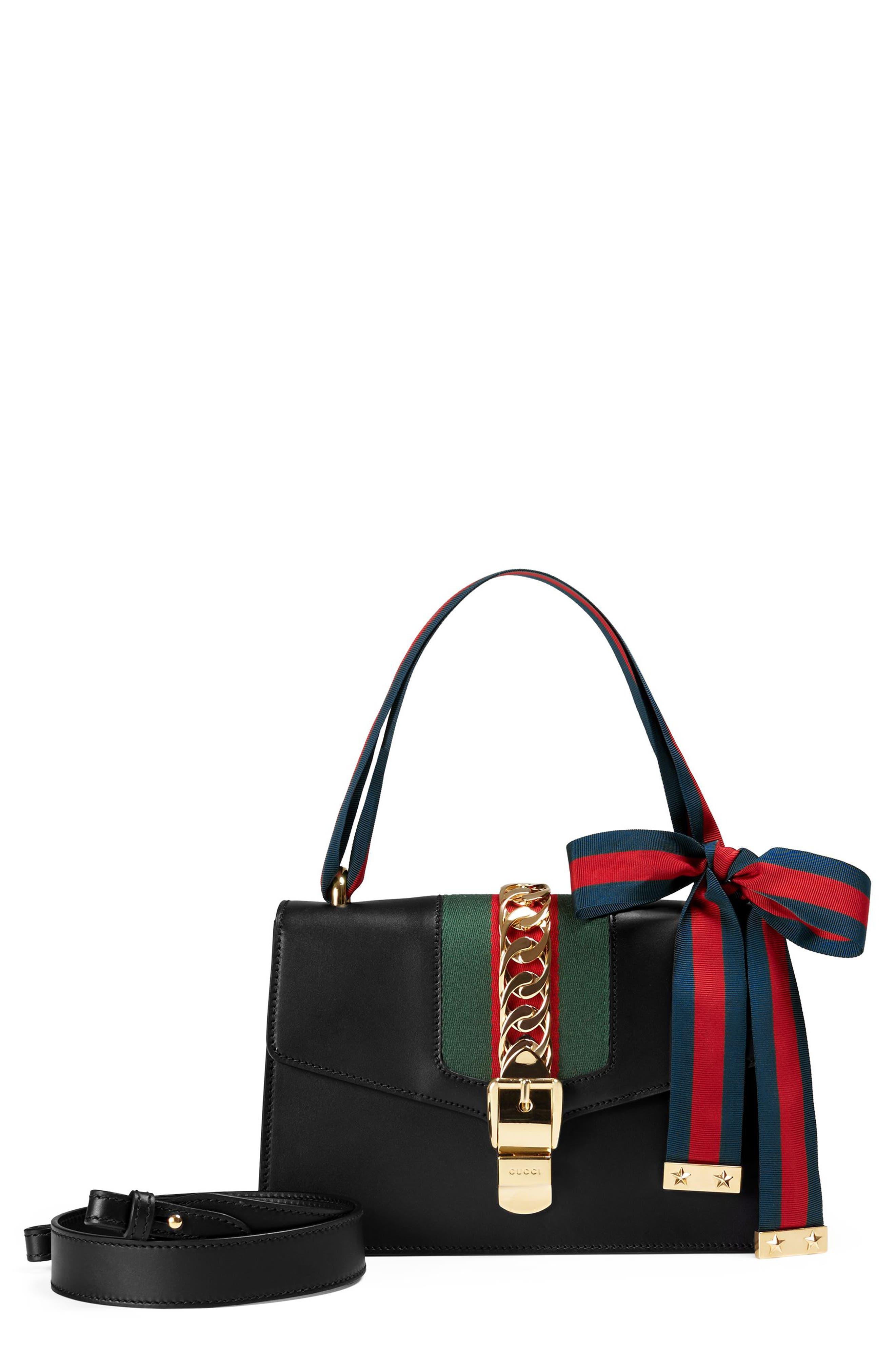 Small Sylvie Leather Shoulder Bag,                         Main,                         color, NERO/ VRV/ BRB
