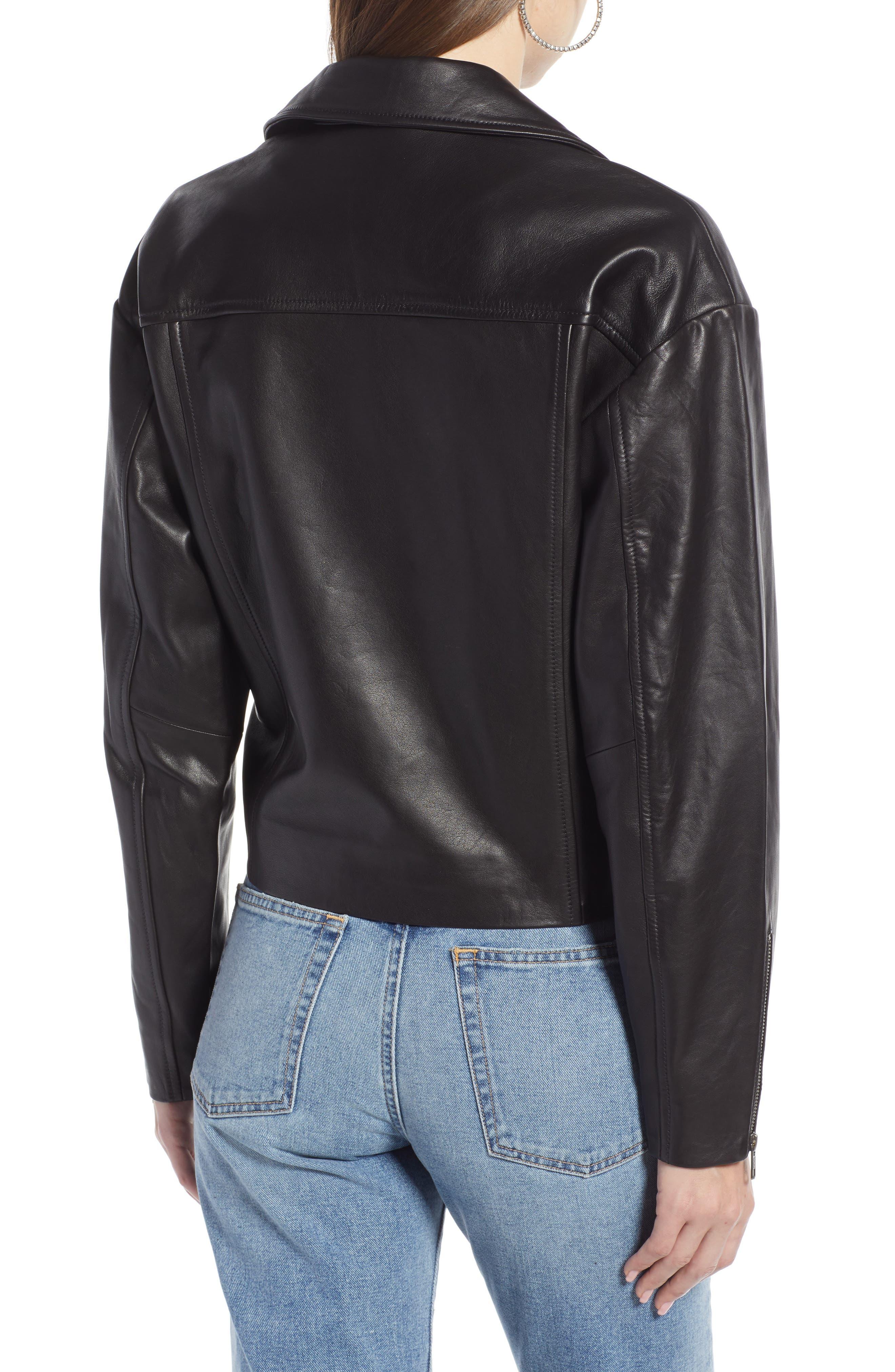 Shrunken Leather Jacket,                             Alternate thumbnail 2, color,                             BLACK