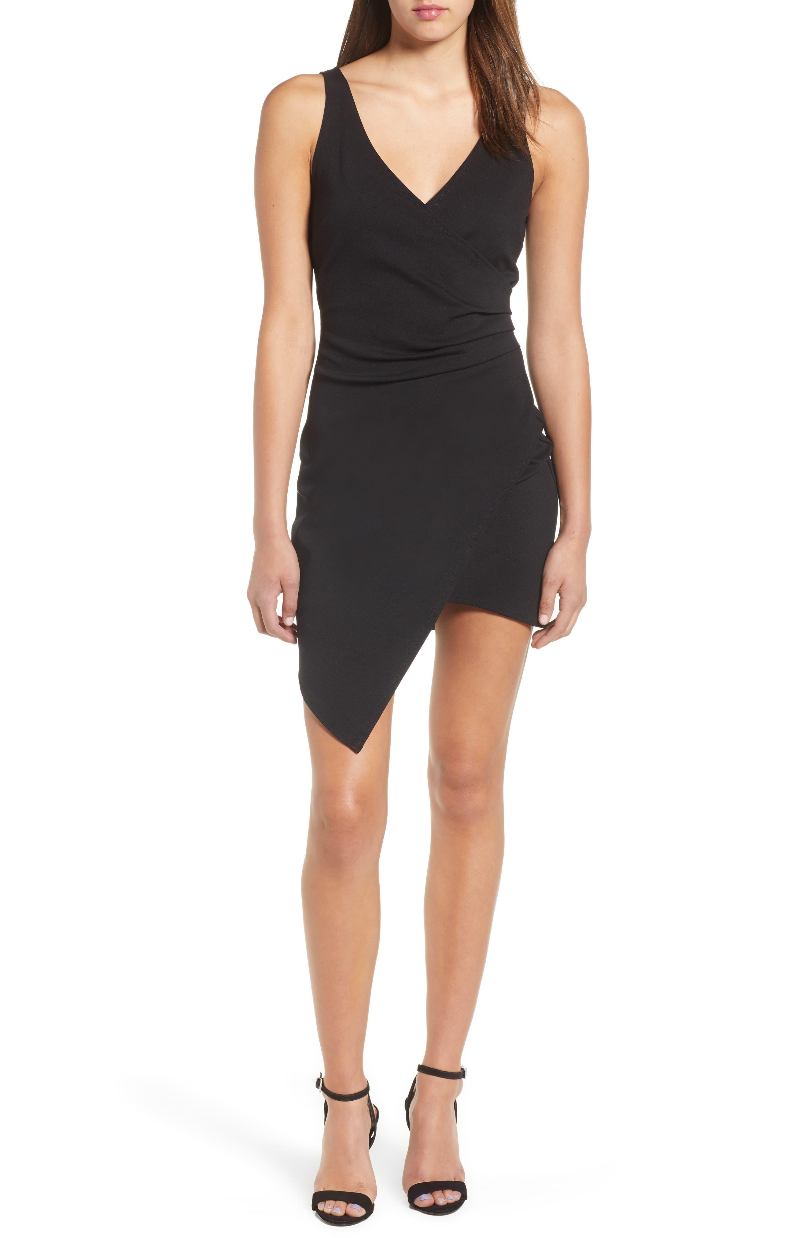 Asymmetrical Body-Con Dress,                             Main thumbnail 1, color,                             001
