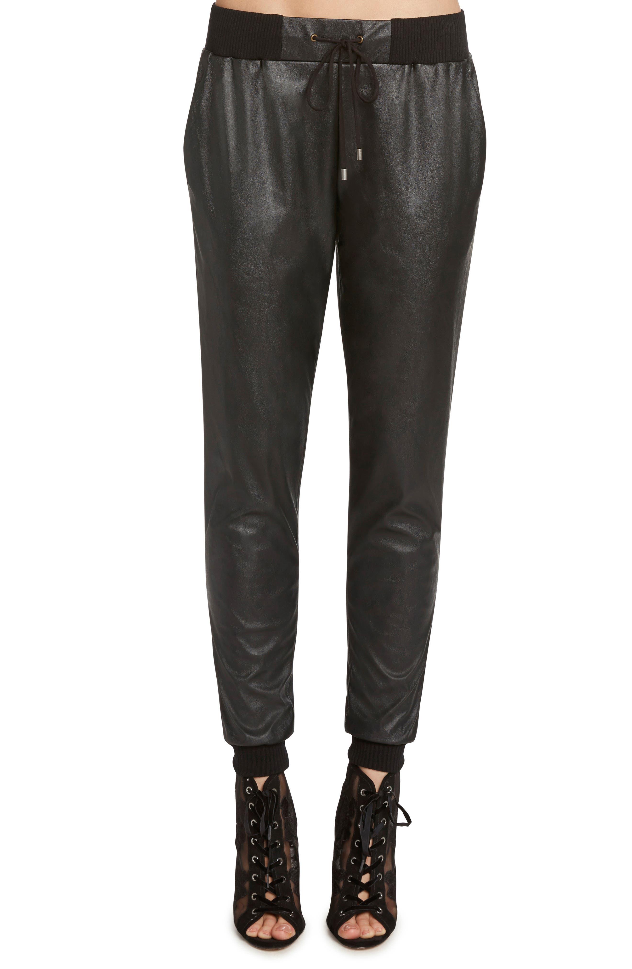 Faux Leather Jogger Pants,                             Main thumbnail 1, color,                             BLACK