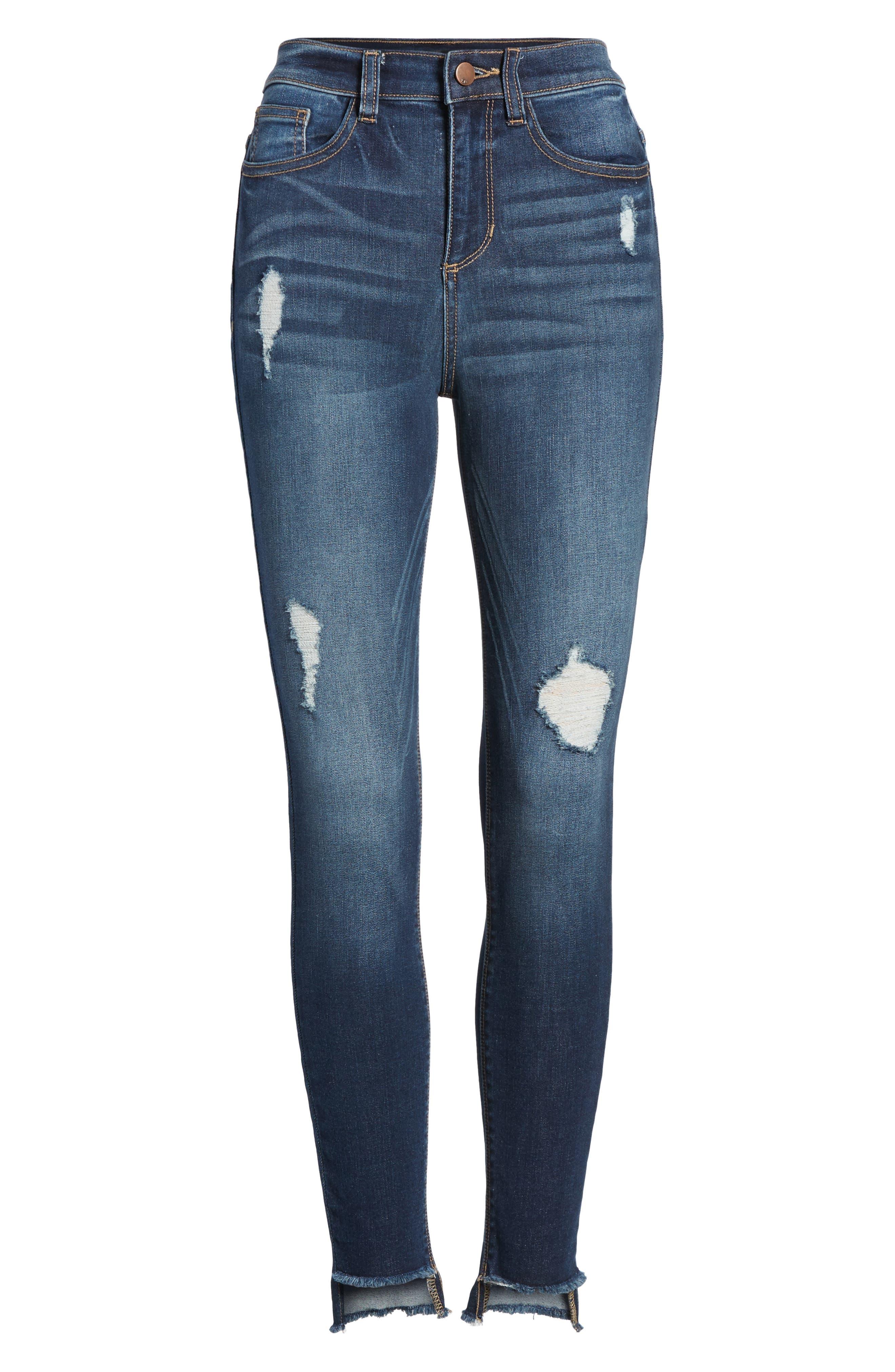 High Waist Step Hem Skinny Jeans,                             Alternate thumbnail 6, color,                             401