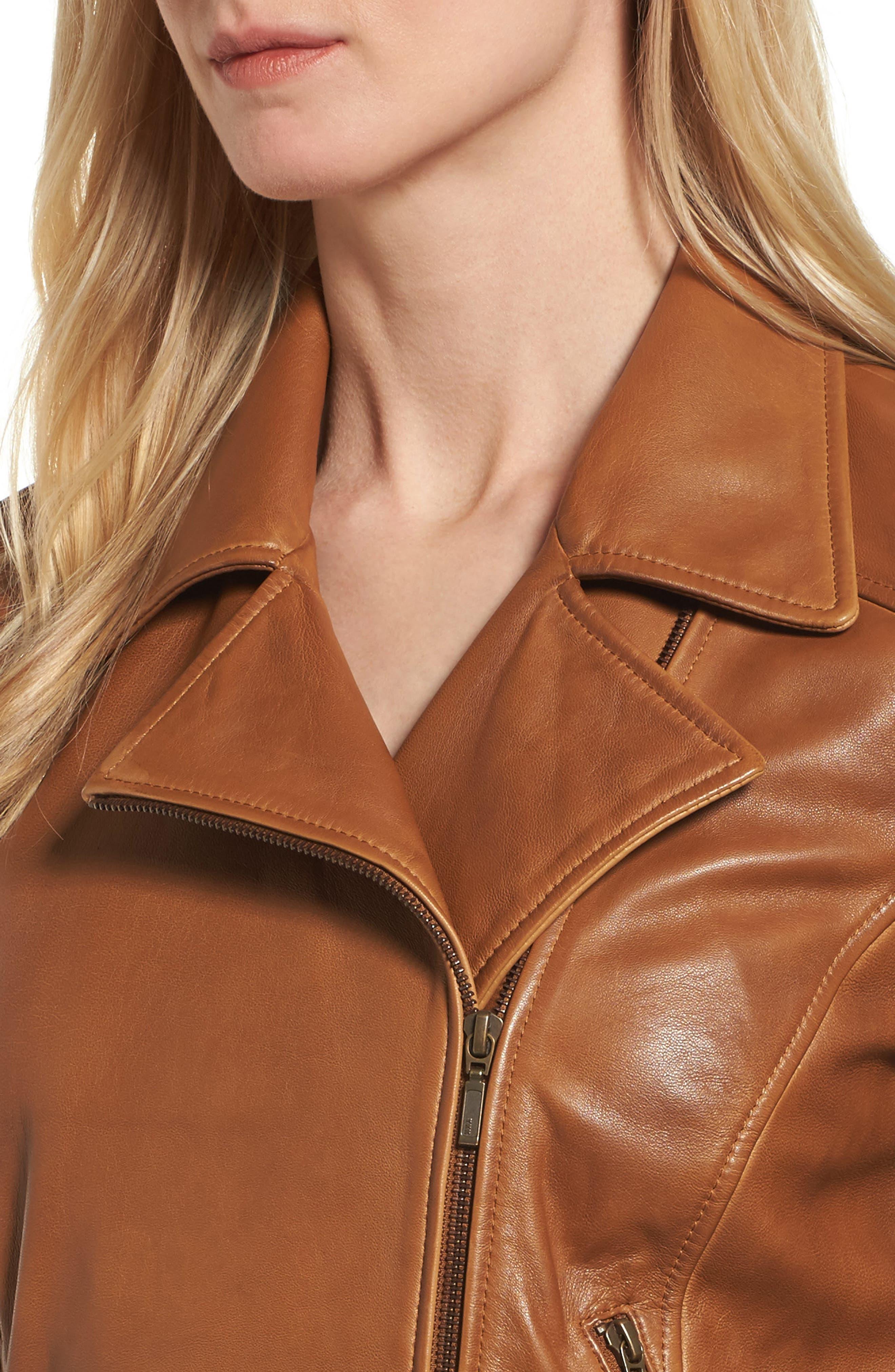 Leather Moto Jacket,                             Alternate thumbnail 16, color,