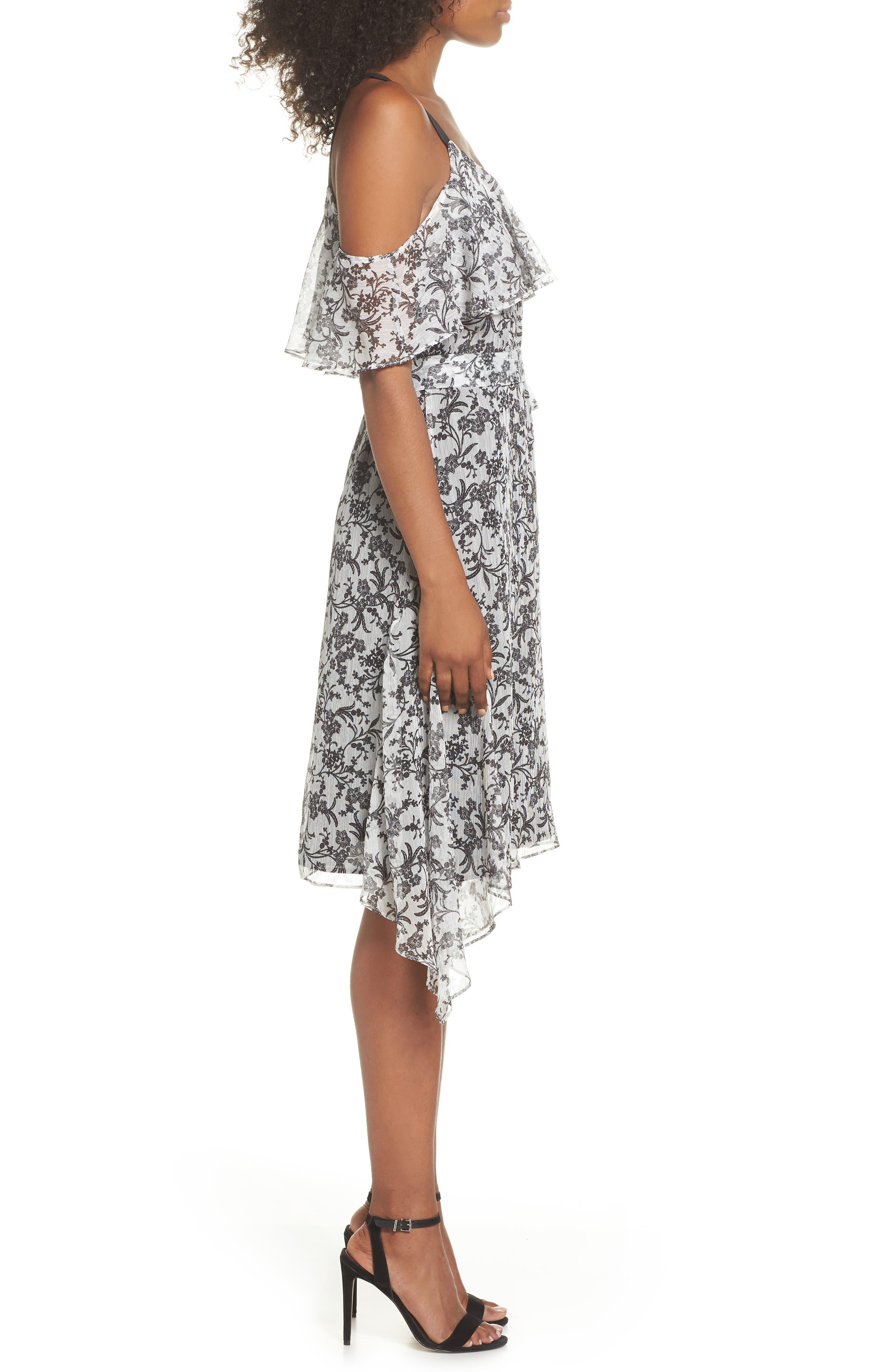 Cold Shoulder Chiffon Dress,                             Alternate thumbnail 3, color,                             114