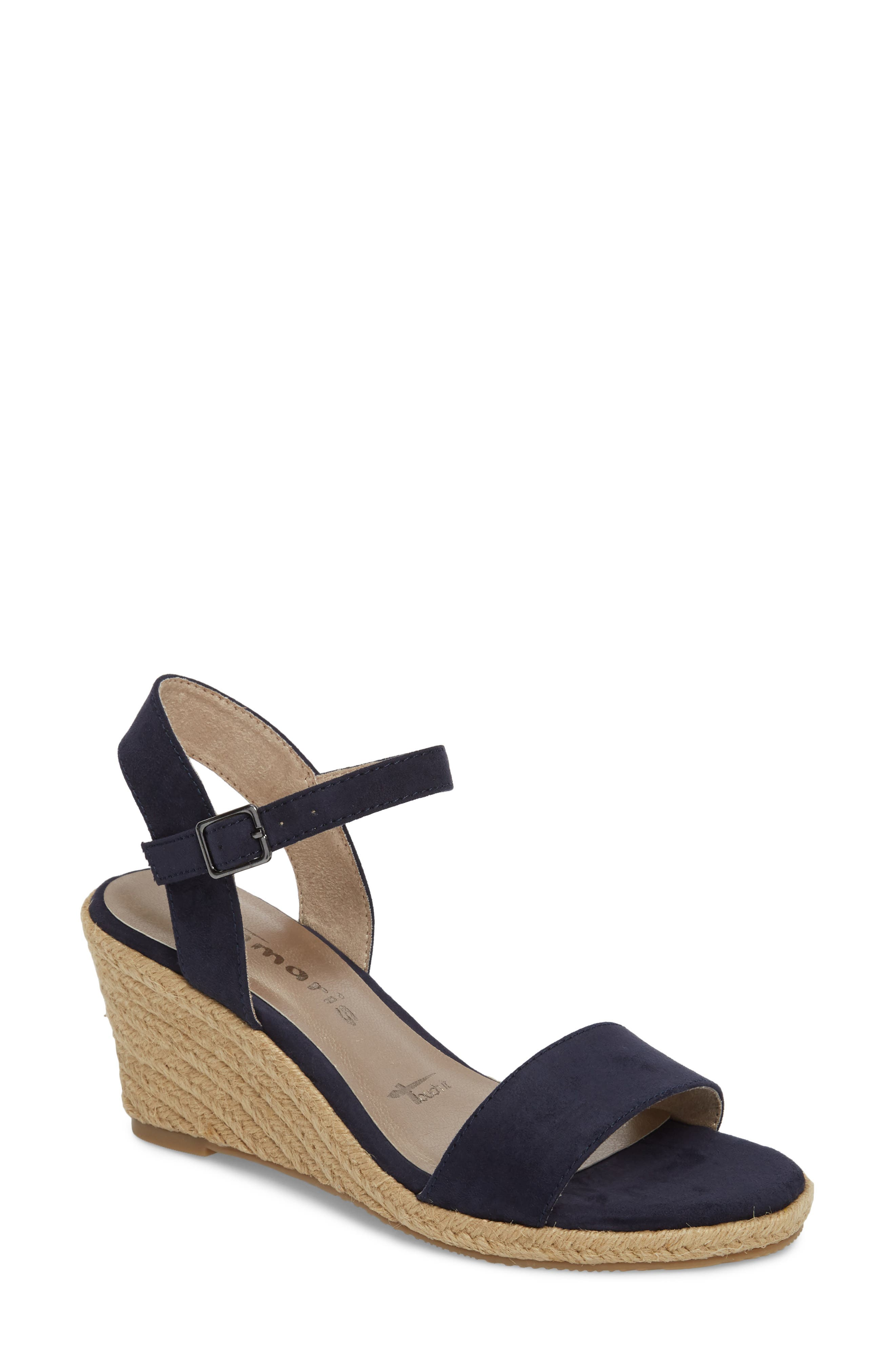 Livia Espadrille Wedge Sandal,                             Main thumbnail 1, color,                             NAVY FABRIC