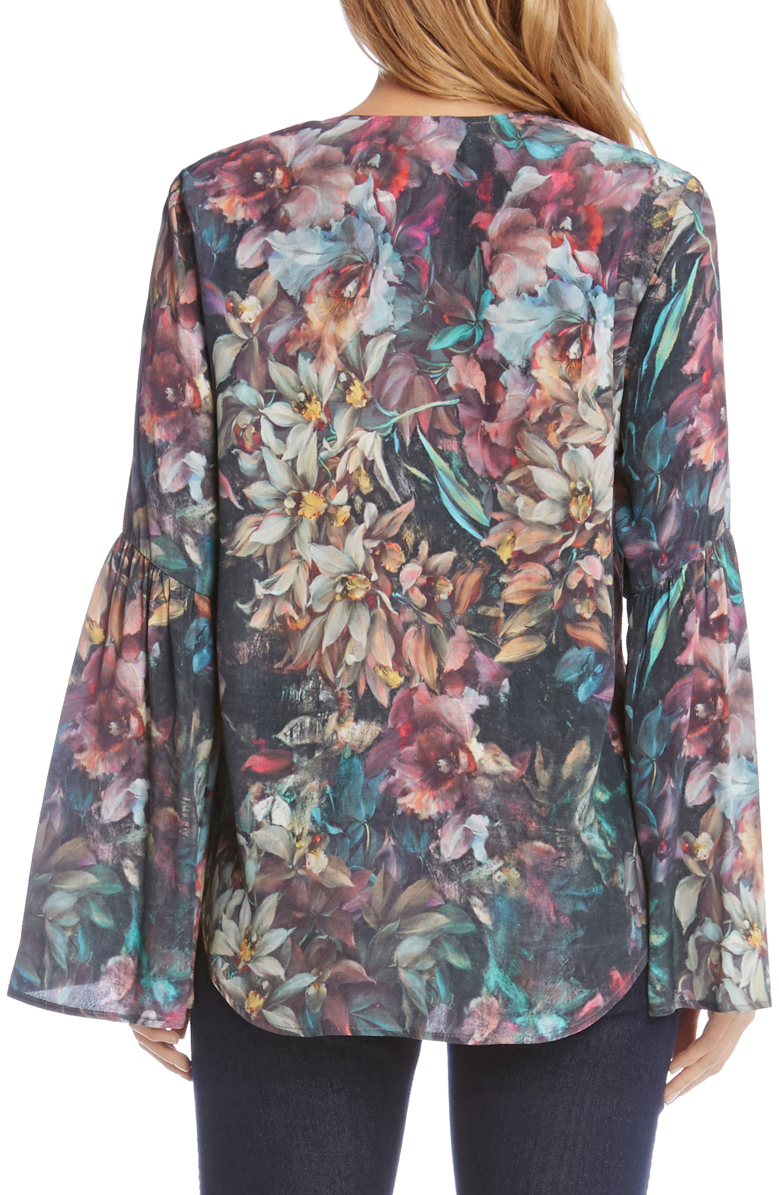 Painted Floral Bell Sleeve Top,                             Alternate thumbnail 2, color,                             003