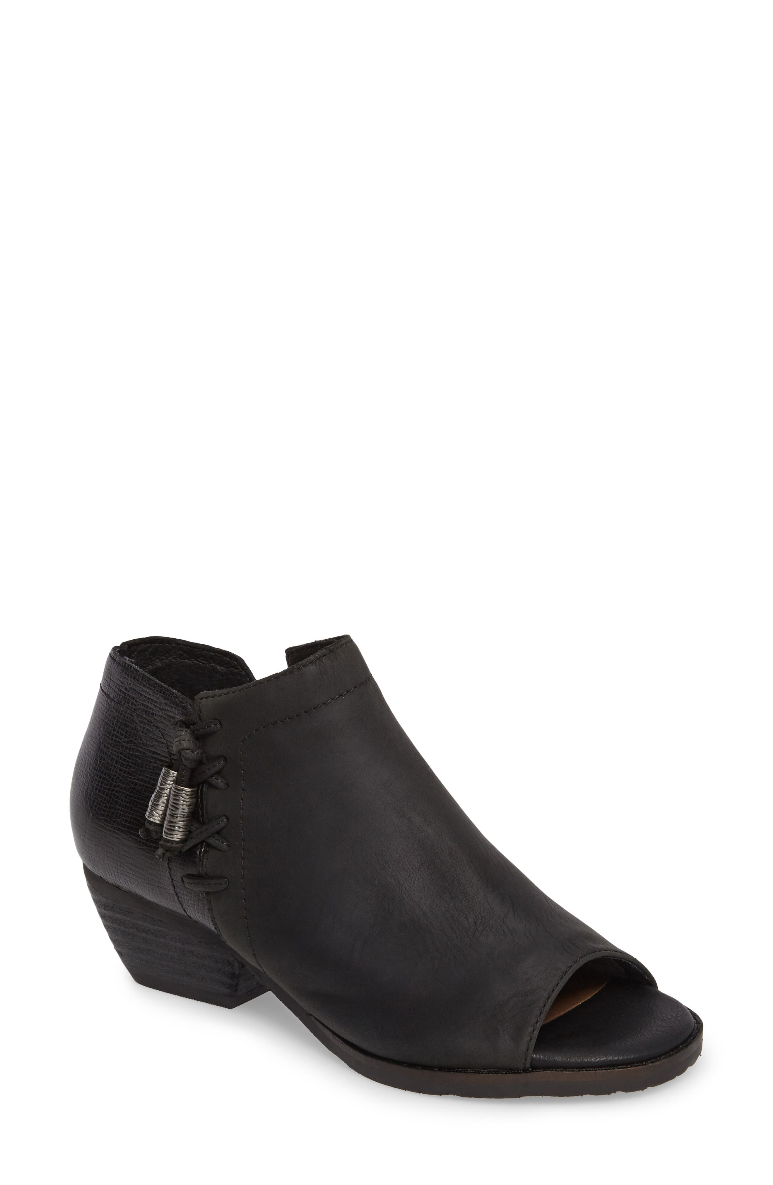 Truckage Open Toe Bootie,                         Main,                         color, BLACK LEATHER