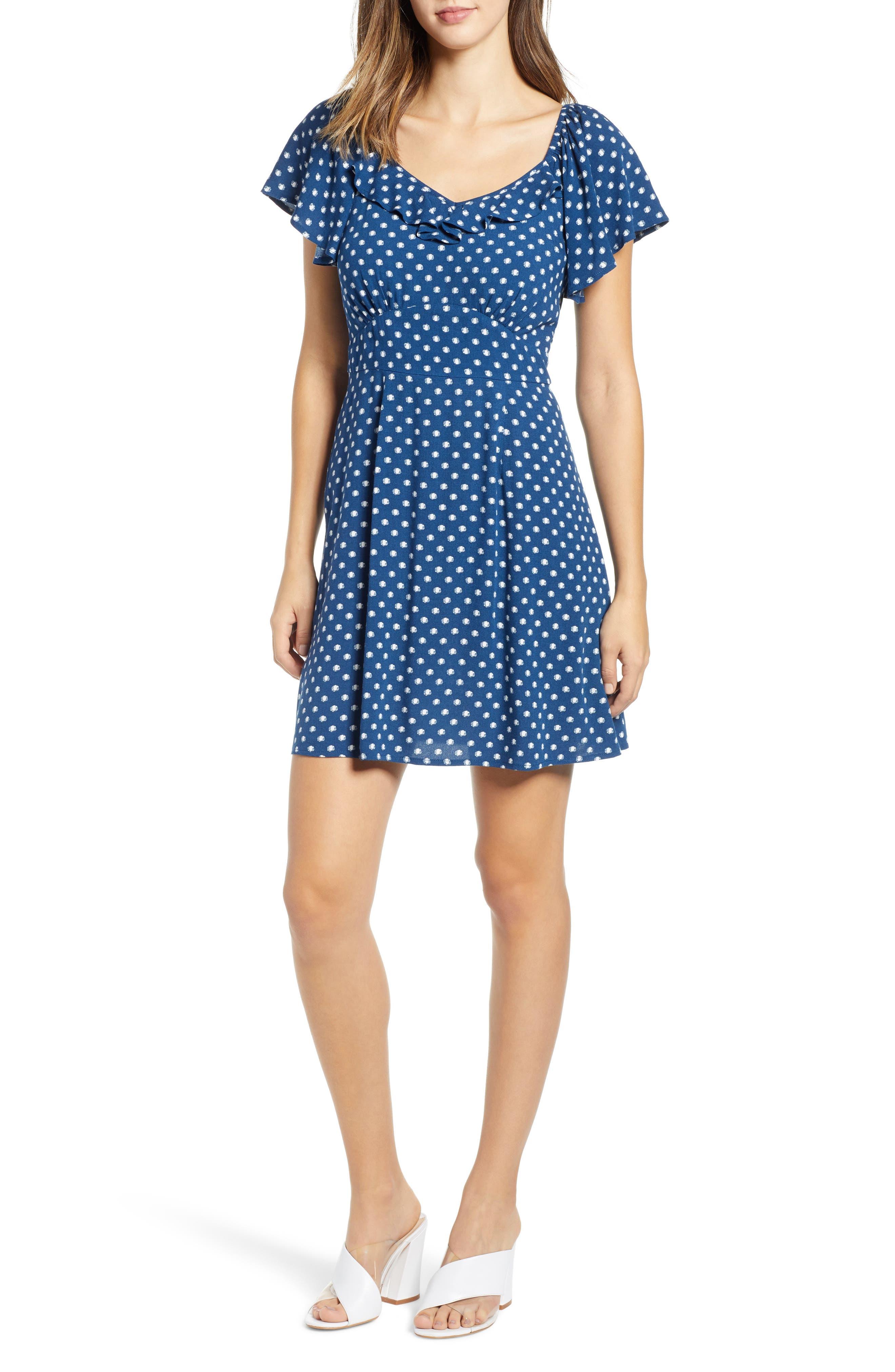 Flutter Sleeve A-Line Dress,                             Main thumbnail 1, color,                             BLUE DOT