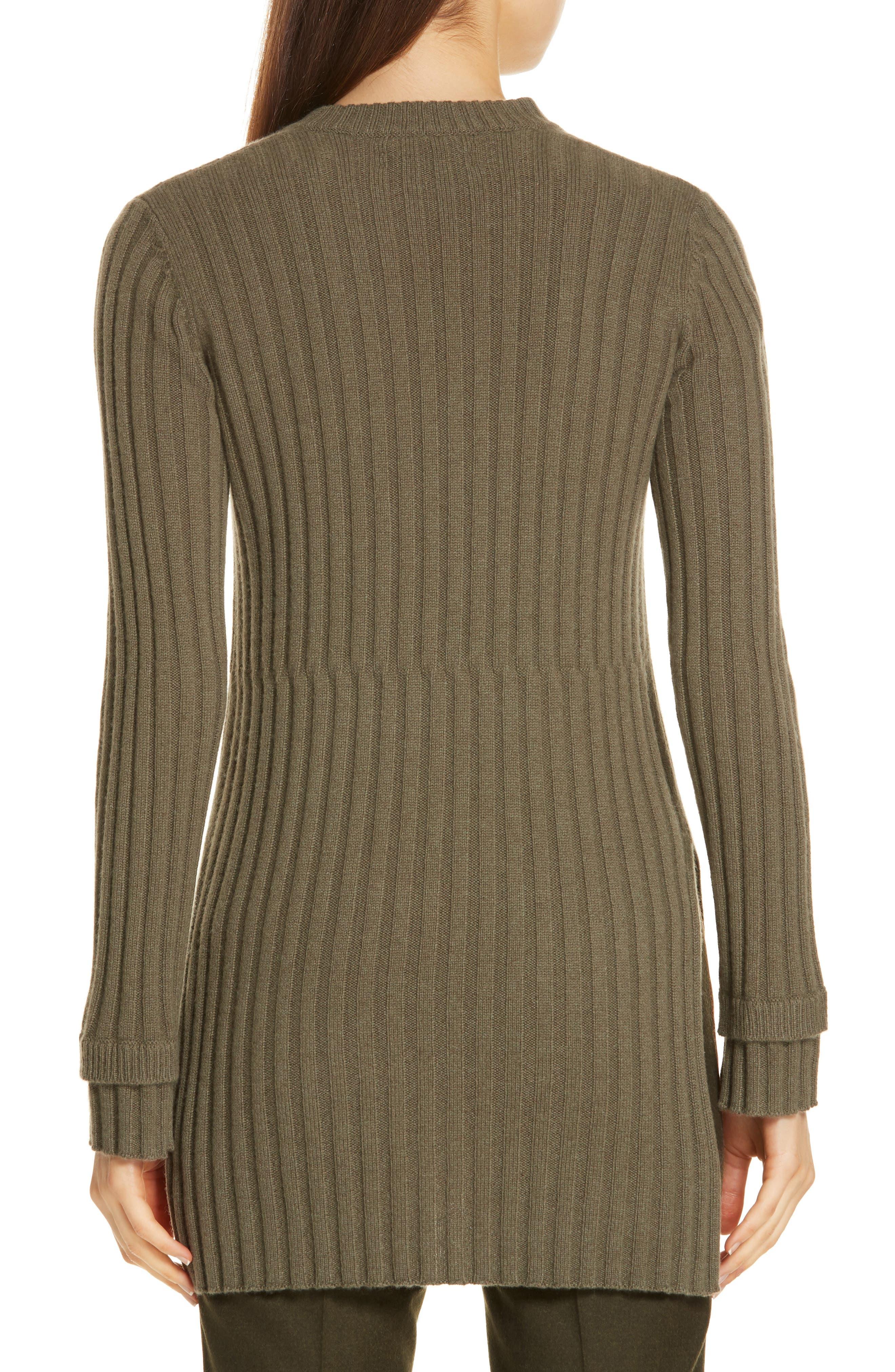 Rib Knit Cashmere Tunic,                             Alternate thumbnail 2, color,                             OLIVE IVY HEATHER