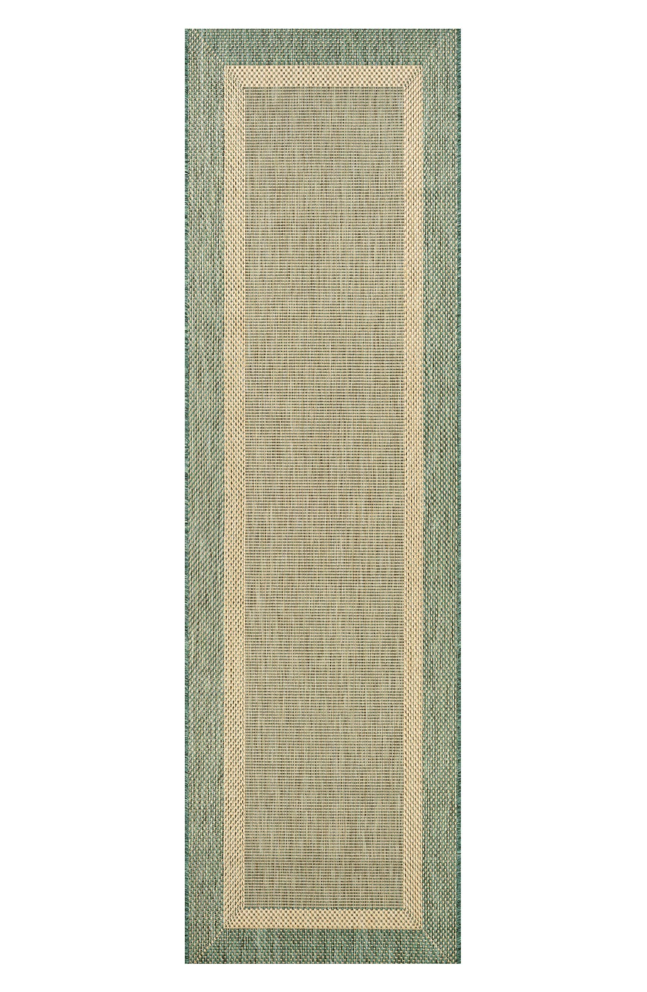 Stria Texture Indoor/Outdoor Rug,                             Alternate thumbnail 3, color,                             NATURAL/ GREEN