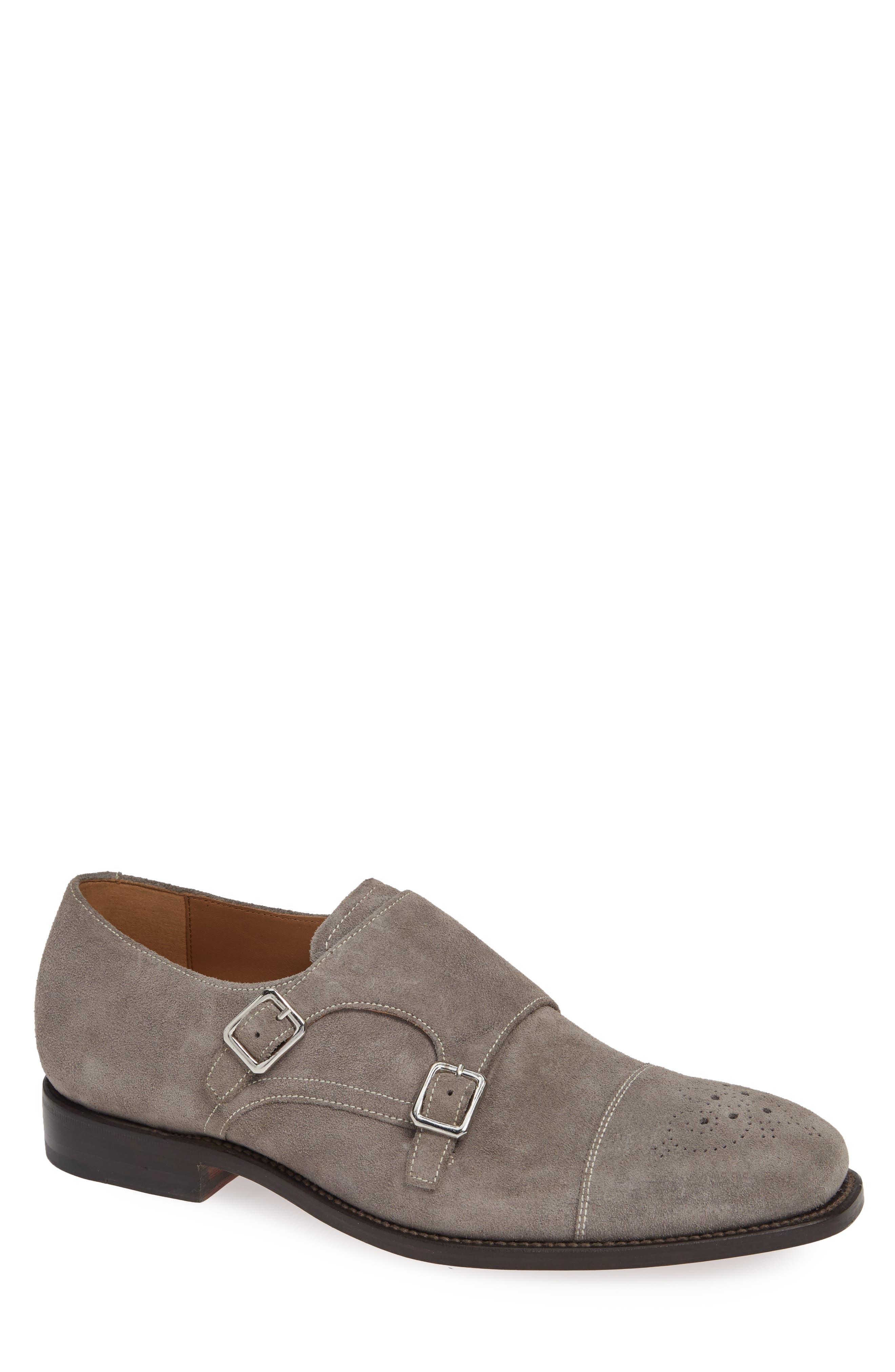 Sausalito Double Monk Strap Shoe,                             Main thumbnail 1, color,                             GREY SUEDE