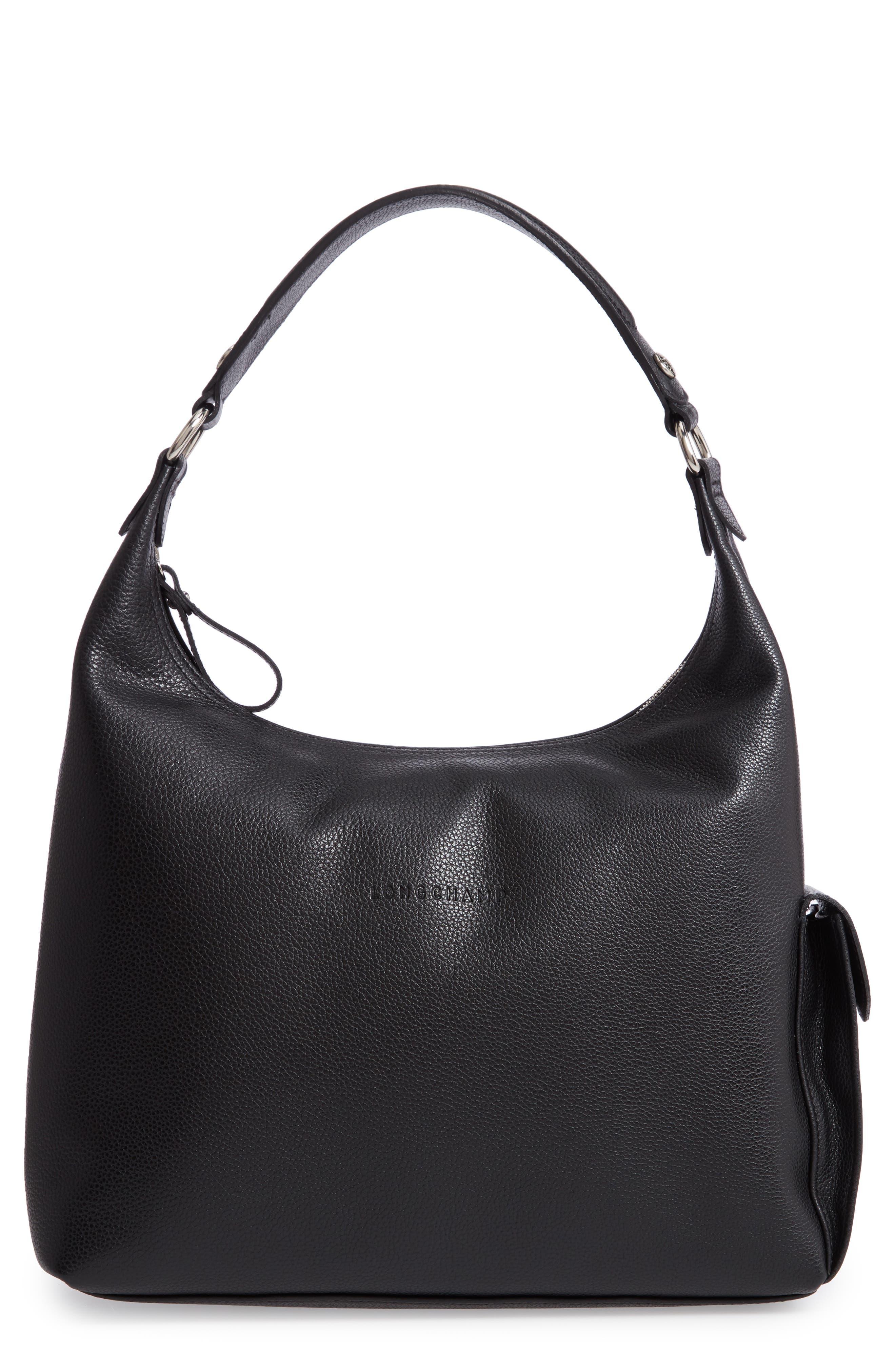 Le Foulonné Leather Hobo,                         Main,                         color, BLACK