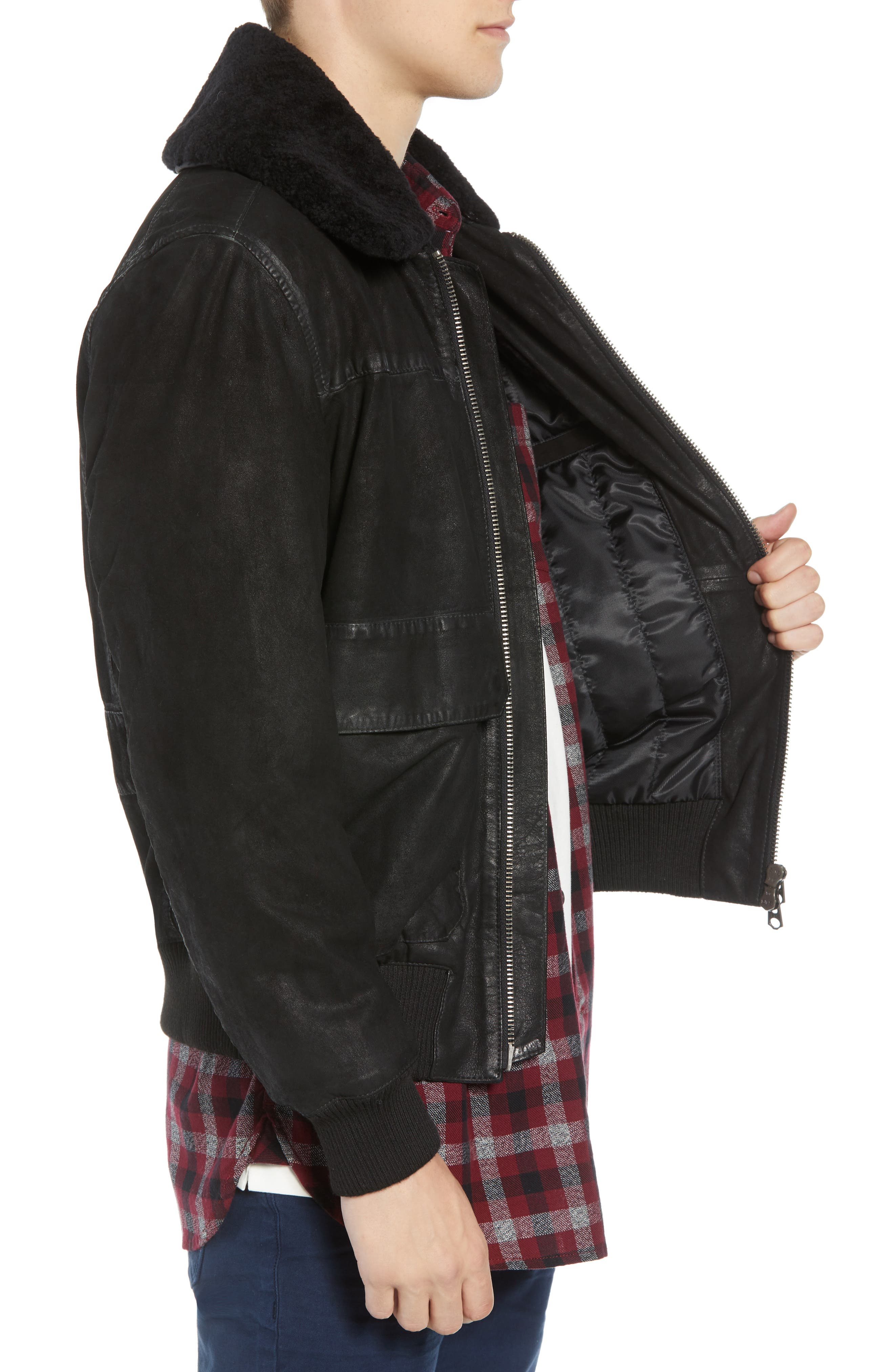 Washed Sheepskin Leather Jacket with Faux Shearling Trim,                             Alternate thumbnail 3, color,                             BLACK