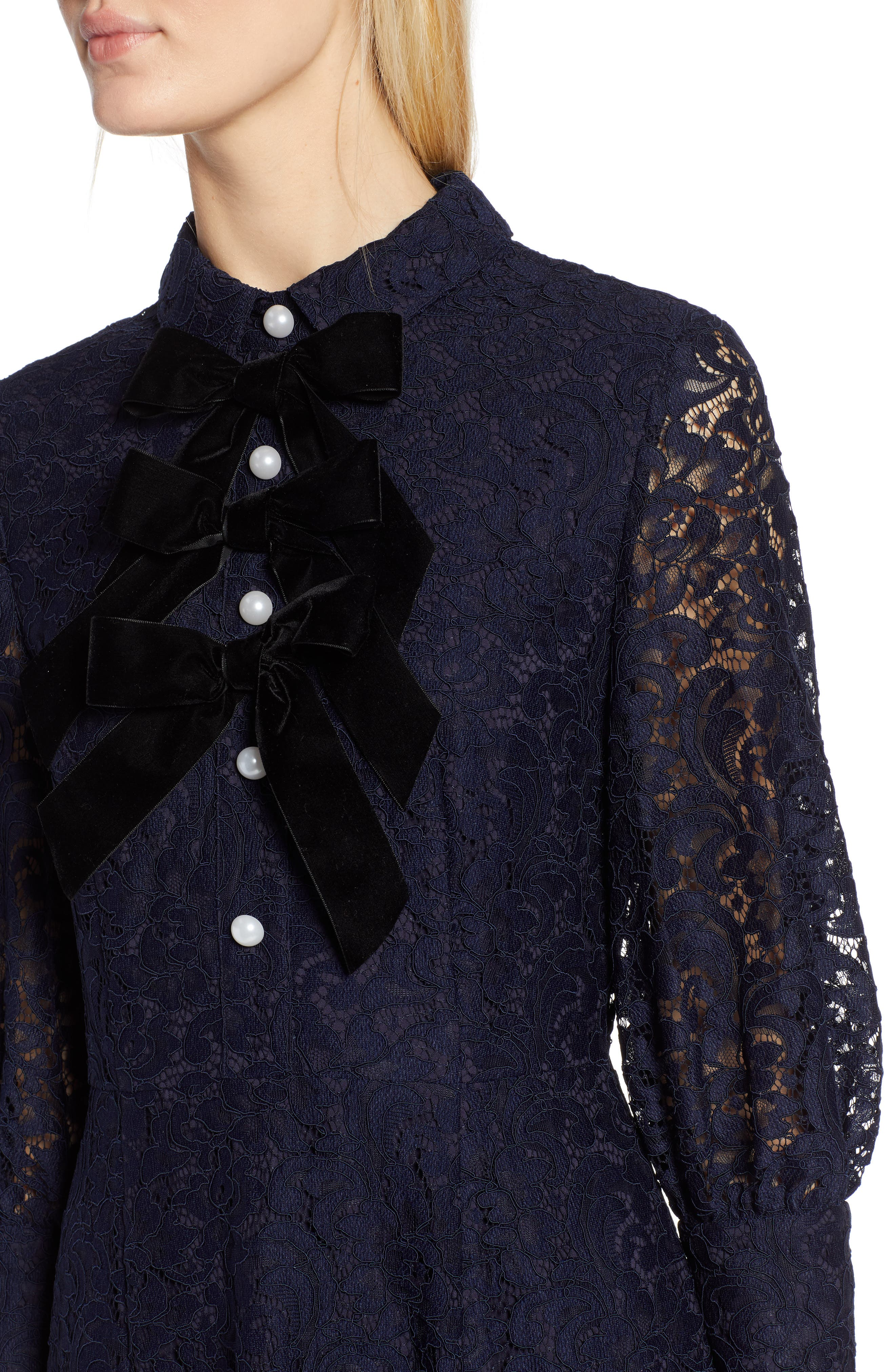 x Atlantic-Pacific Bow Detail Lace Midi Dress,                             Alternate thumbnail 5, color,                             NAVY