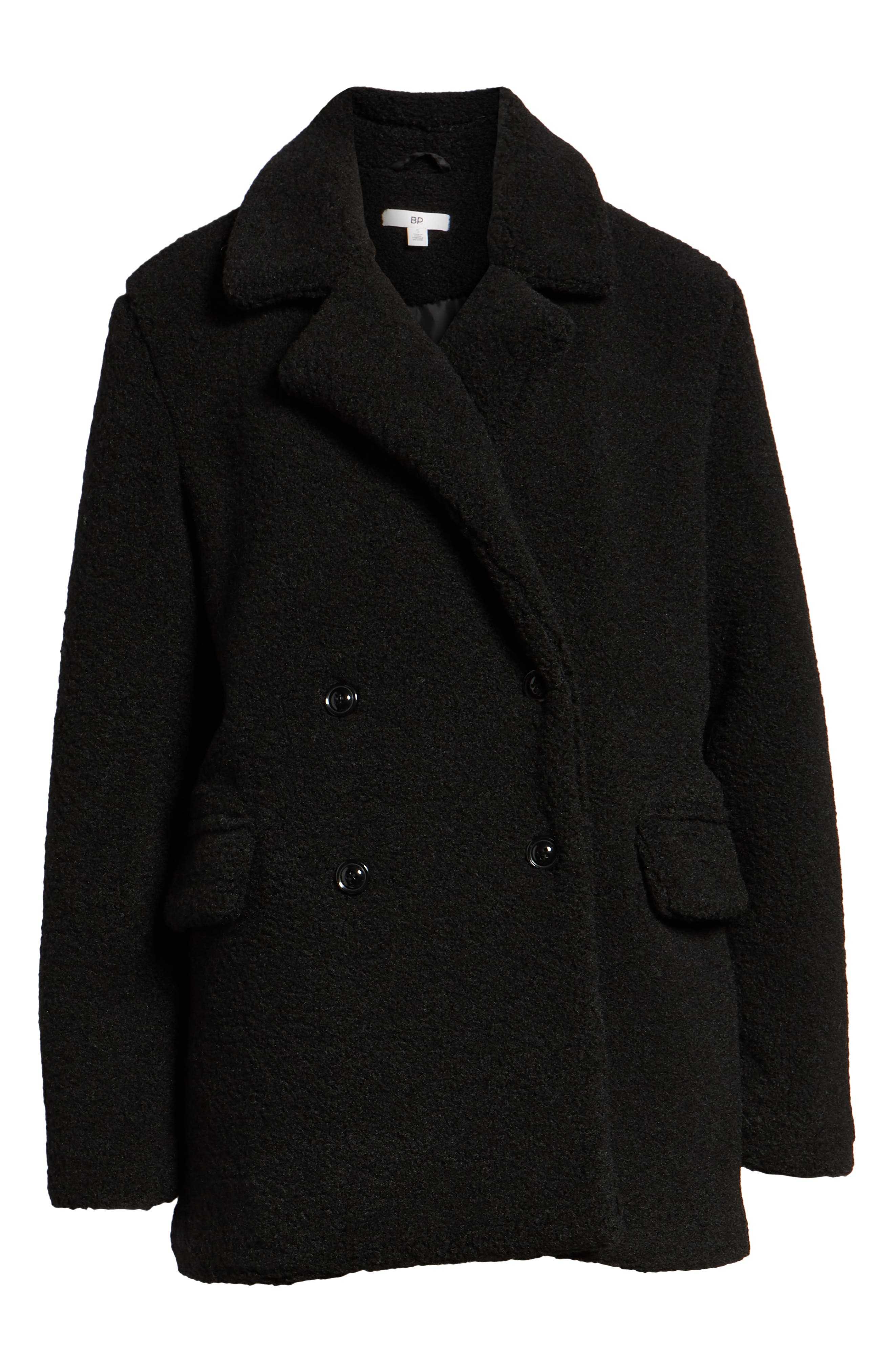 Textured Double Breasted Coat,                             Alternate thumbnail 6, color,                             BLACK
