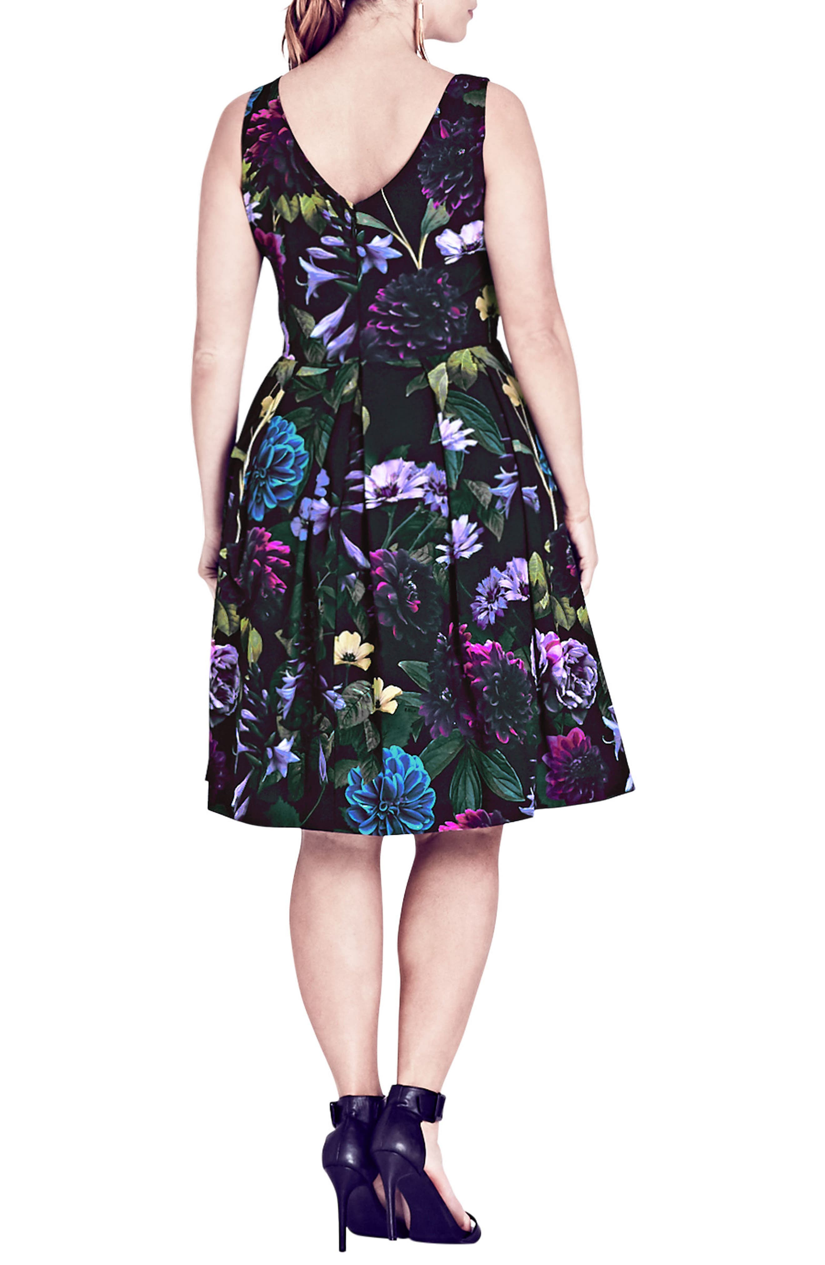 Perfect Floral Fit & Flare Dress,                             Alternate thumbnail 2, color,                             001