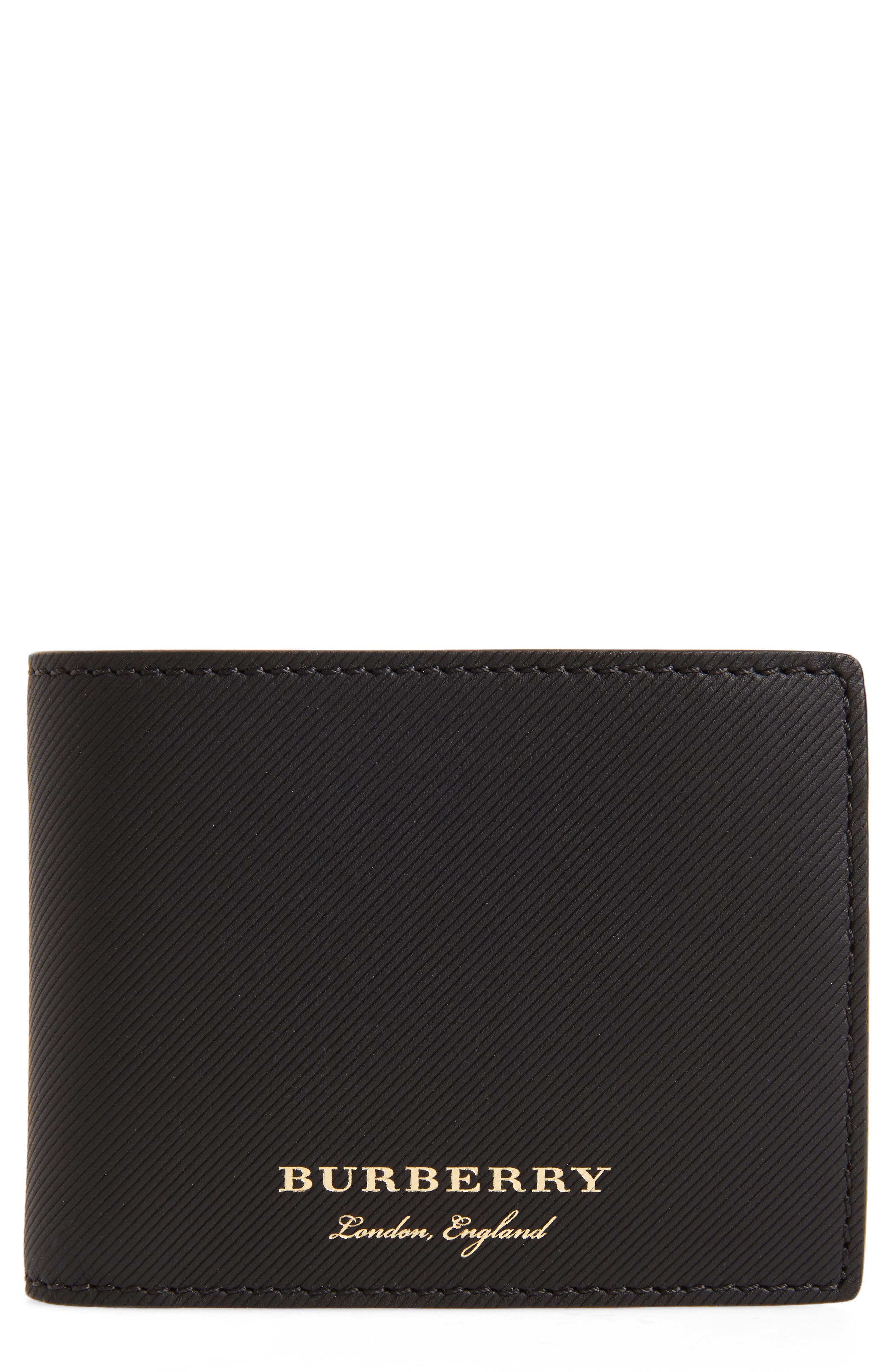 Leather Bifold Wallet,                         Main,                         color, BLACK
