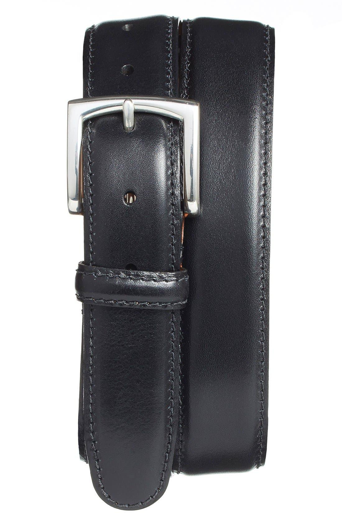 Calfskin Leather Belt,                         Main,                         color, BLACK