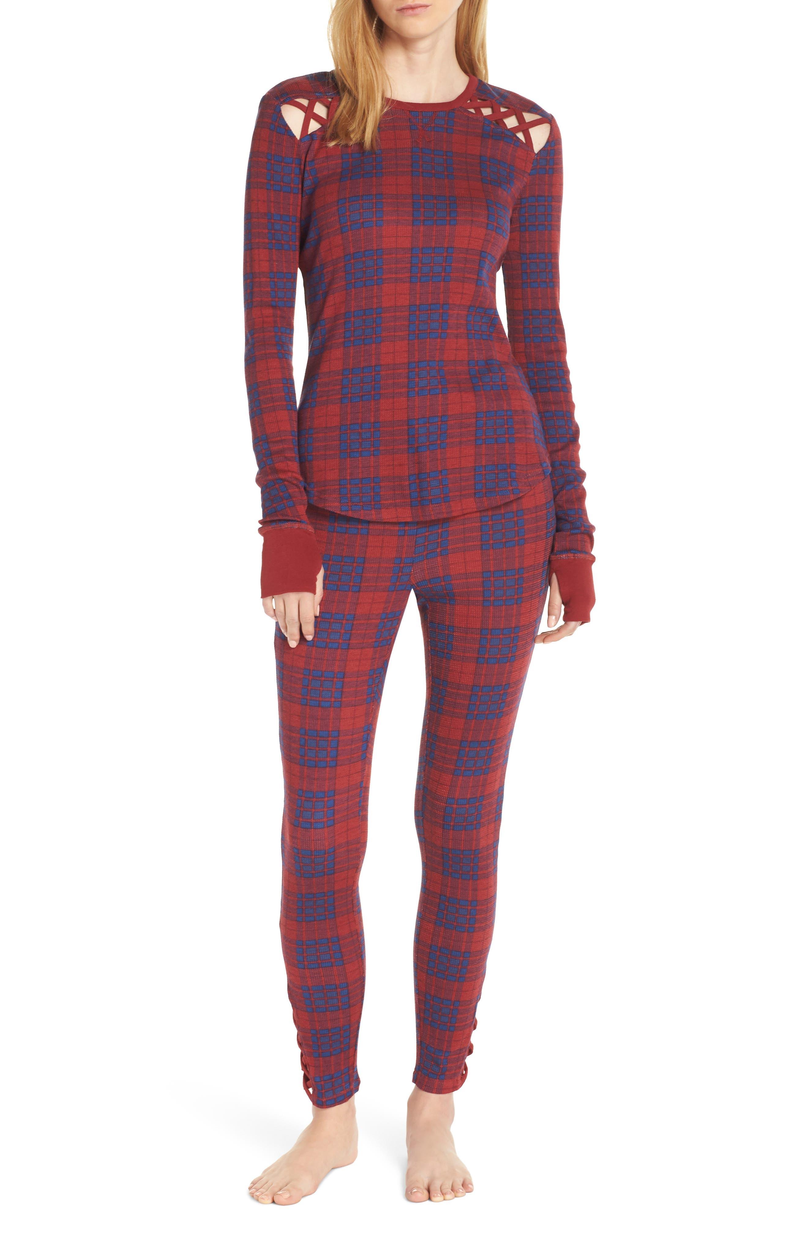 Retrospective Co. Thermal Pajamas, Burgundy