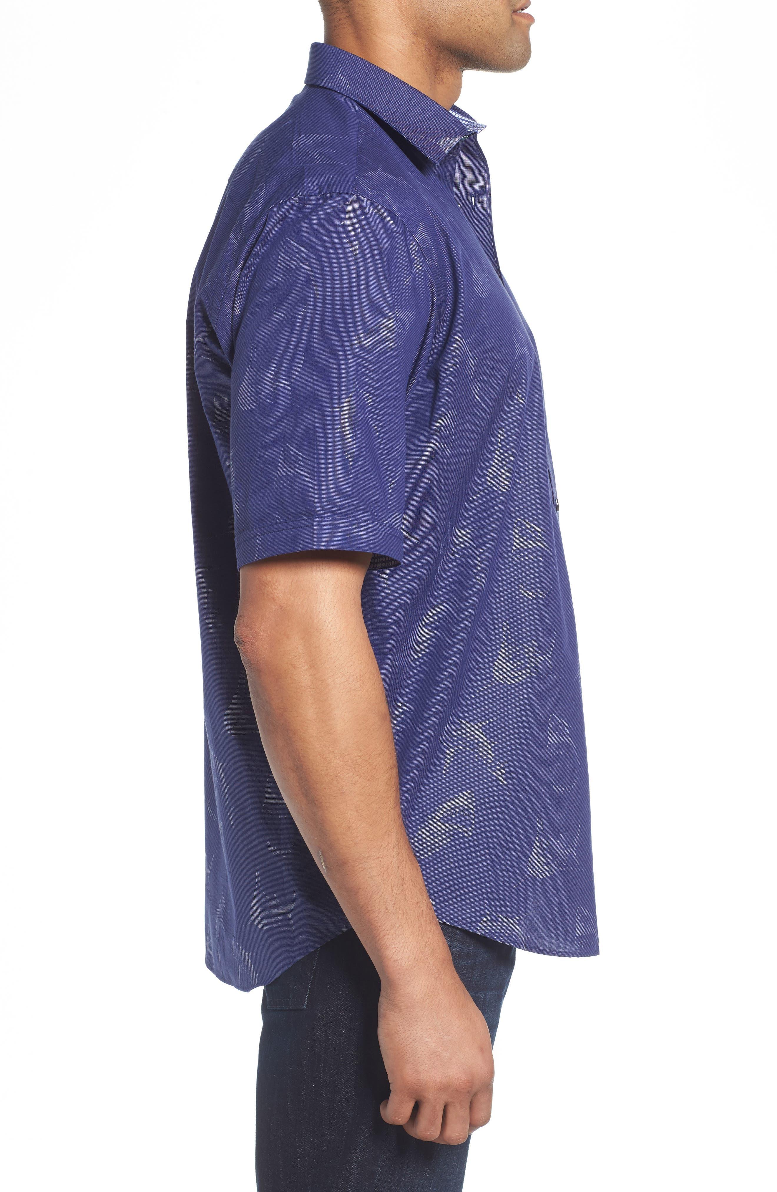 Classic Fit Shark Jacquard Sport Shirt,                             Alternate thumbnail 3, color,                             411