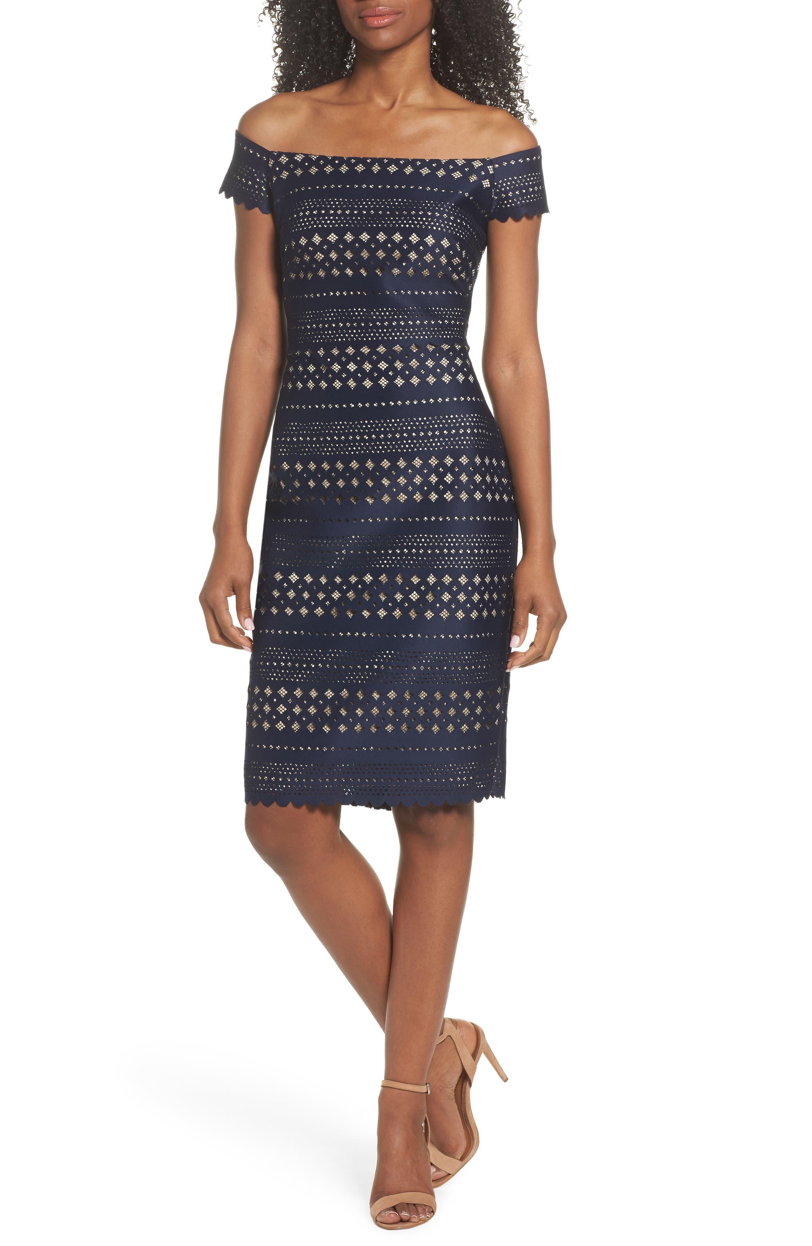 Off the Shoulder Sheath Dress,                         Main,                         color, 410