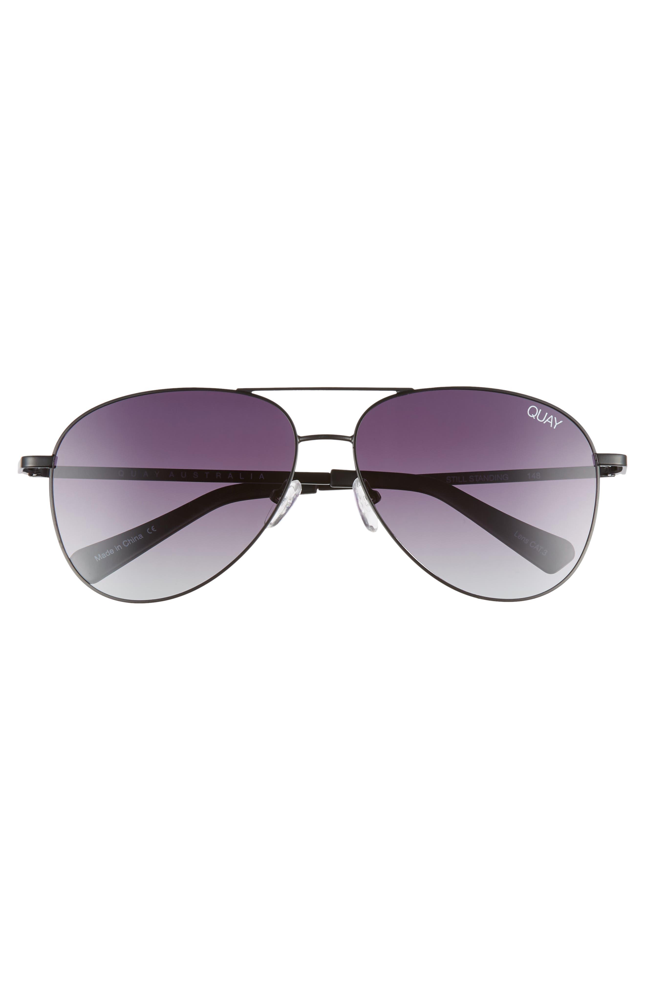 Still Standing 60mm Aviator Sunglasses,                             Alternate thumbnail 2, color,                             BLACK / SMOKE LENS