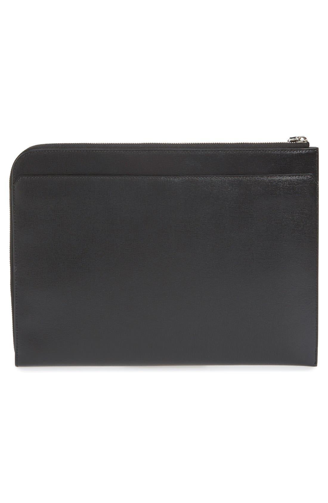 Calfskin Leather Document Holder,                             Alternate thumbnail 4, color,                             001