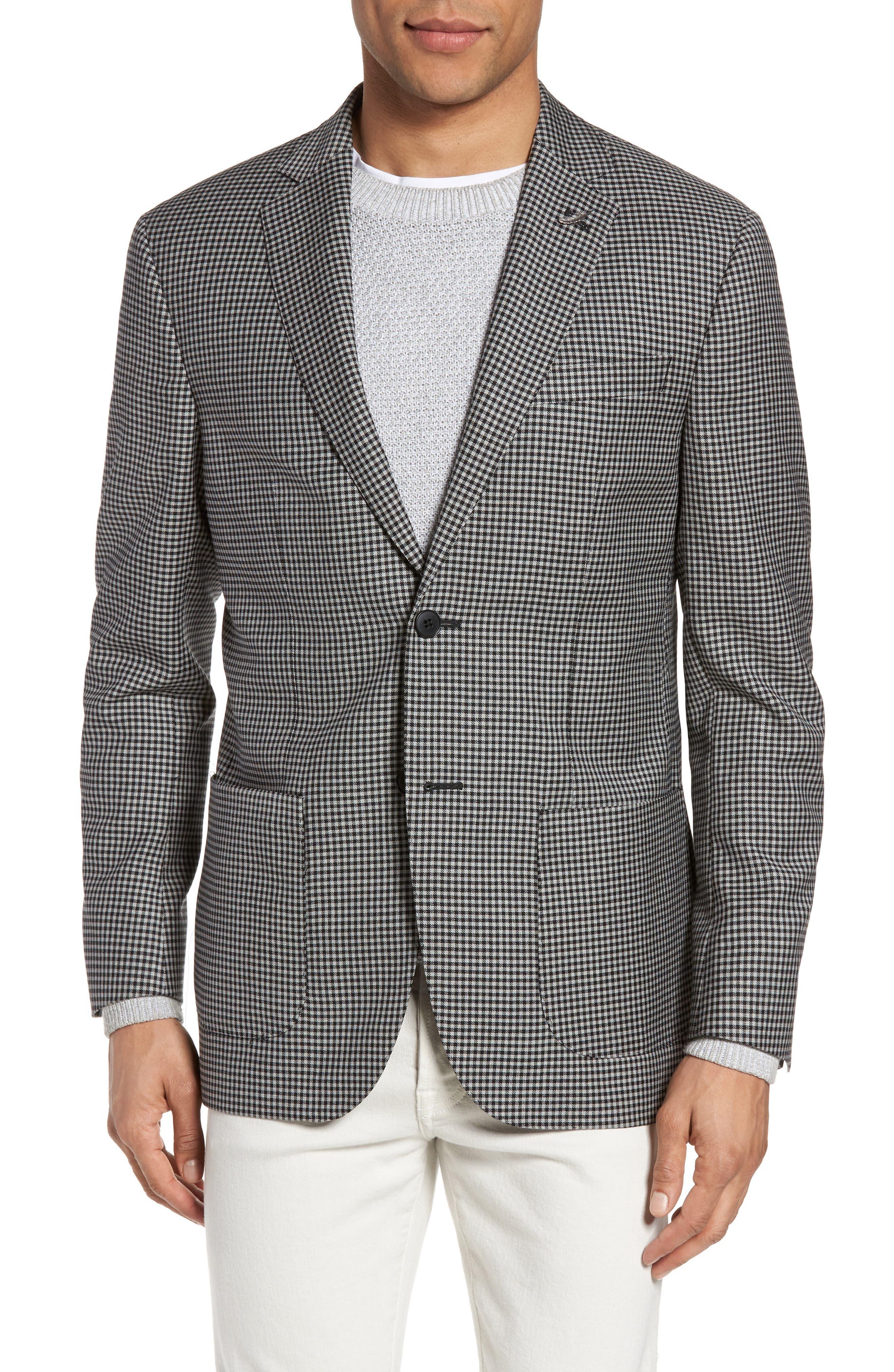 Classic Fit Check Wool Sport Coat,                             Main thumbnail 1, color,                             002
