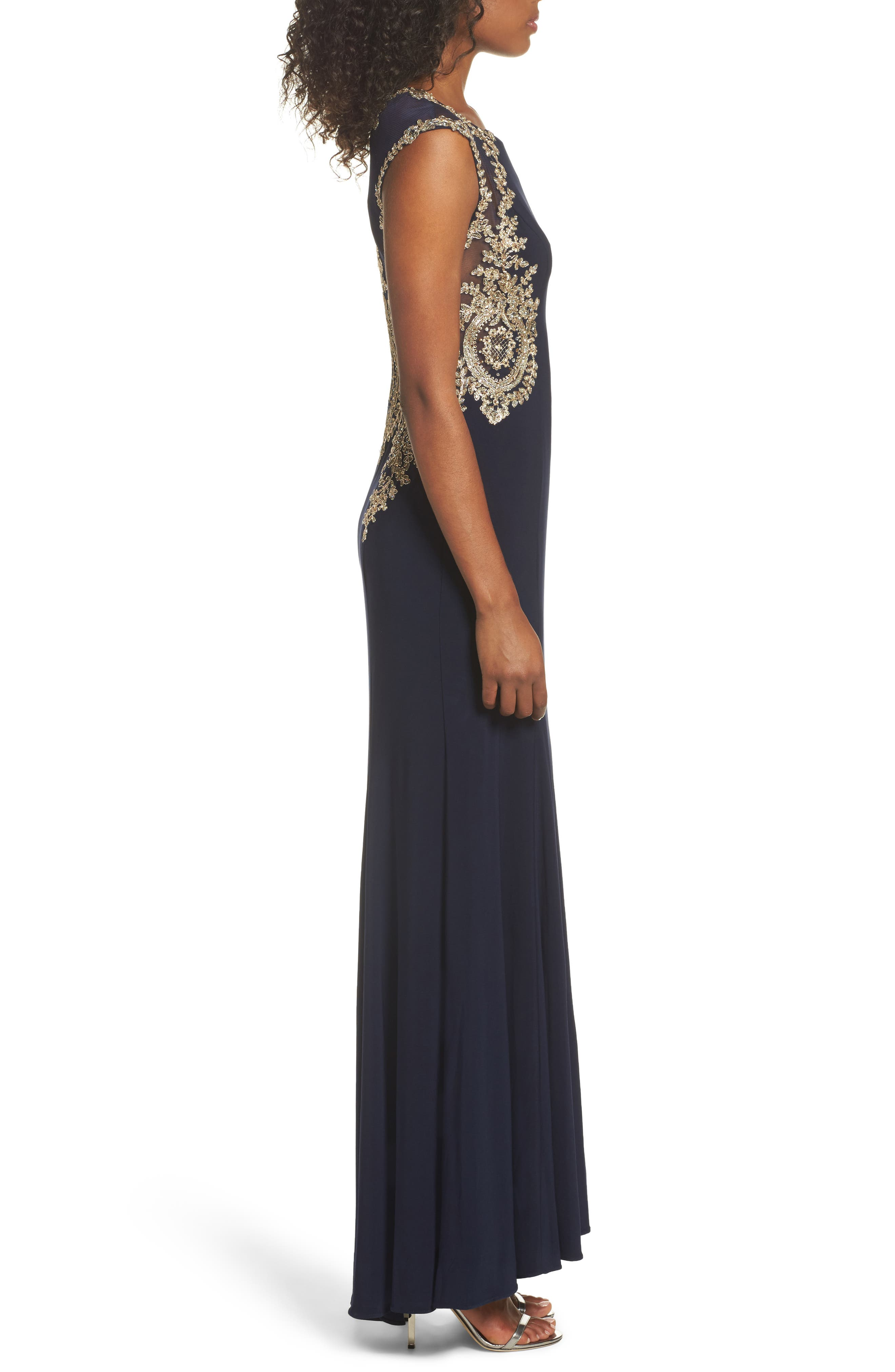 Embellished Jersey Gown,                             Alternate thumbnail 6, color,