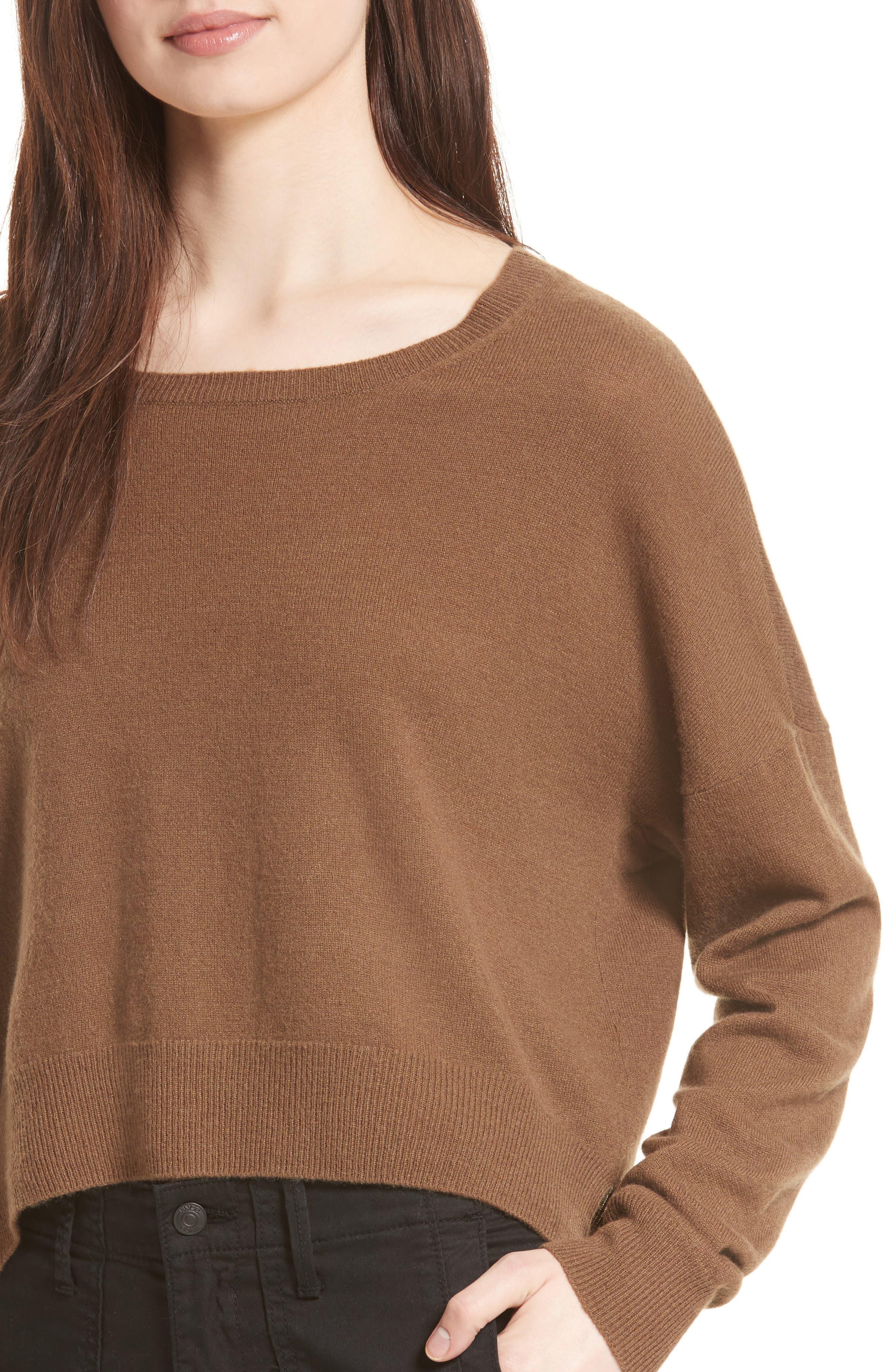Crop Cashmere Sweater,                             Alternate thumbnail 8, color,