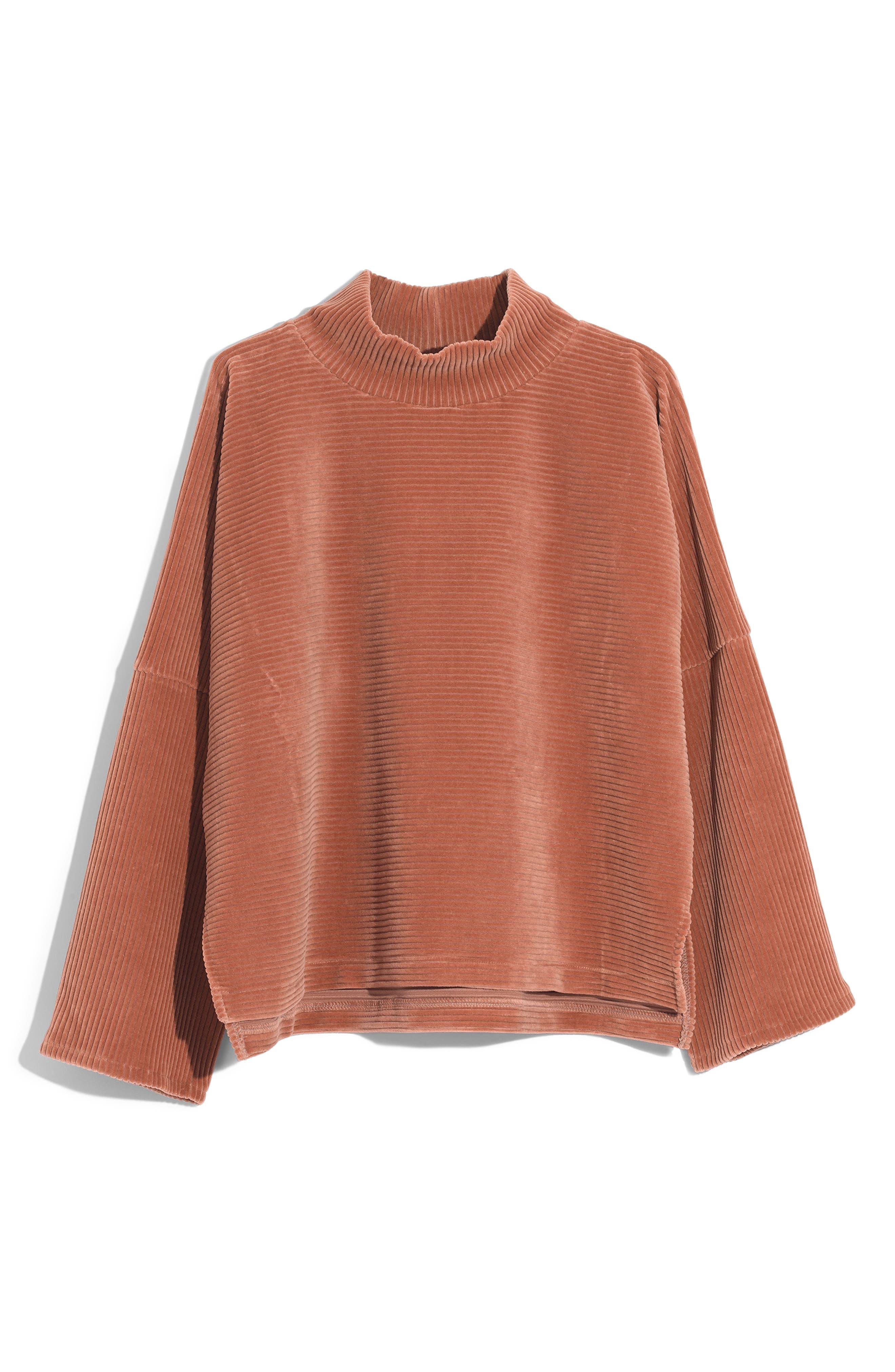 Texture & Thread Velour Corduroy Mock Neck Top,                         Main,                         color, WARM SAND
