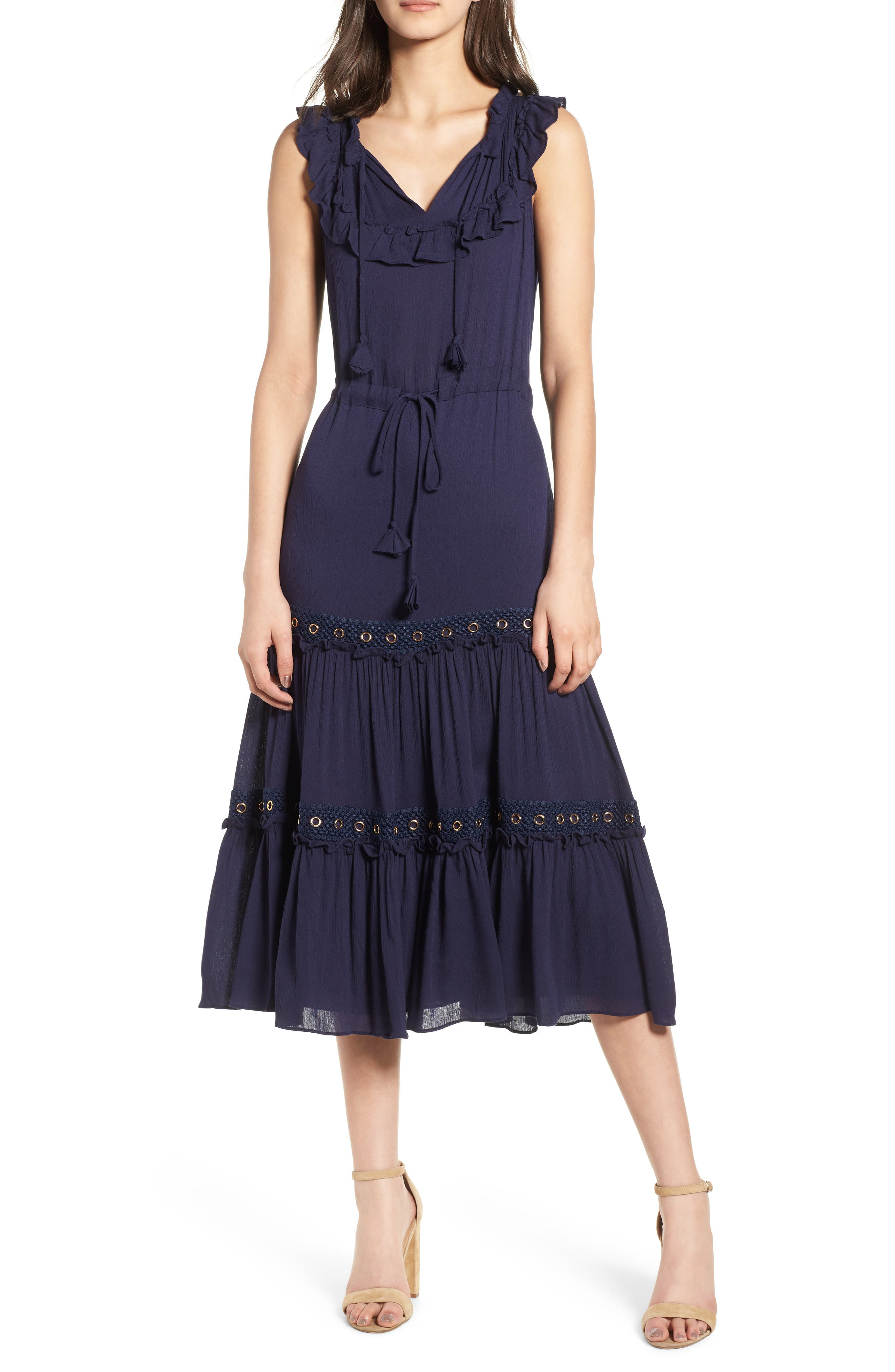 Gabriella Tie Waist Midi Dress,                         Main,                         color, AZURE