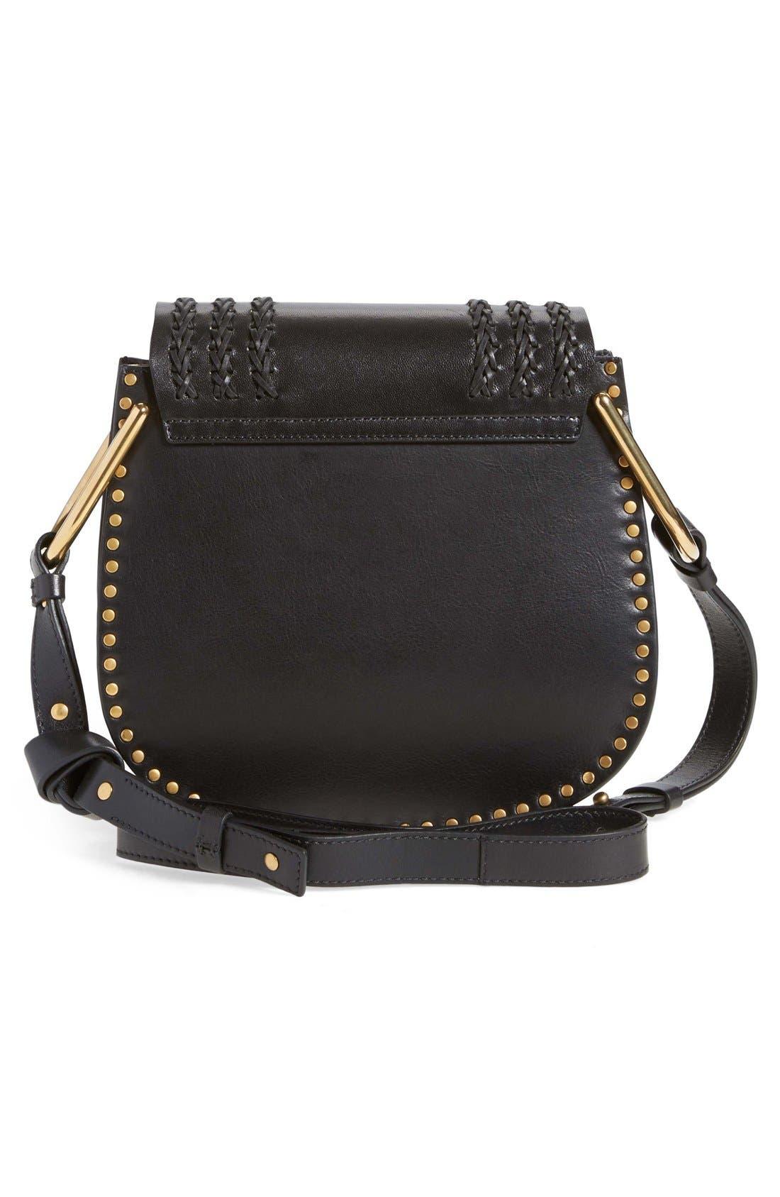 CHLOÉ,                             'Small Hudson' Studded Calfskin Leather Crossbody Bag,                             Alternate thumbnail 4, color,                             001