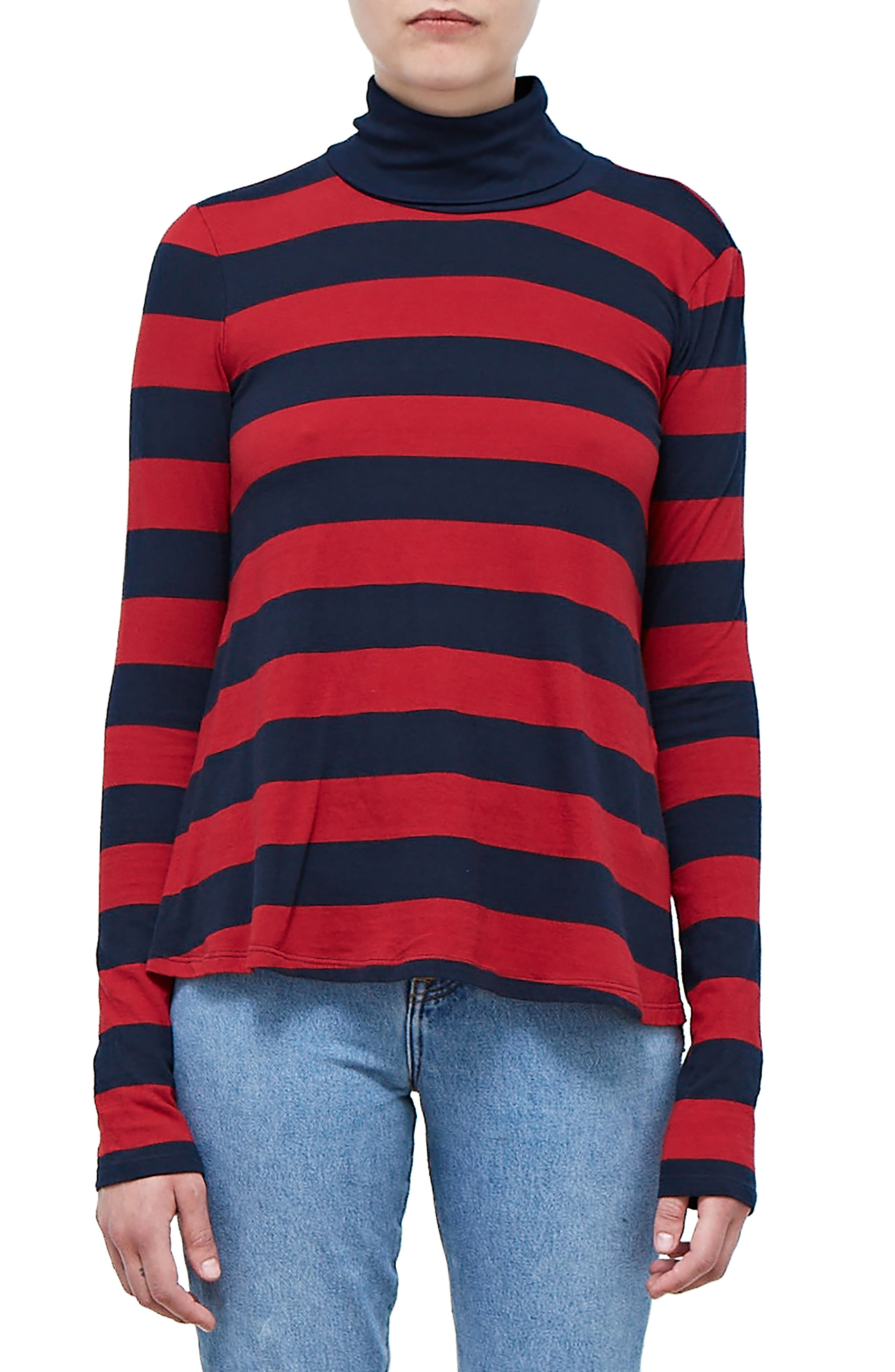 Rugby Stripe Turtleneck Top,                             Main thumbnail 1, color,                             NAVY/ DEEP RED