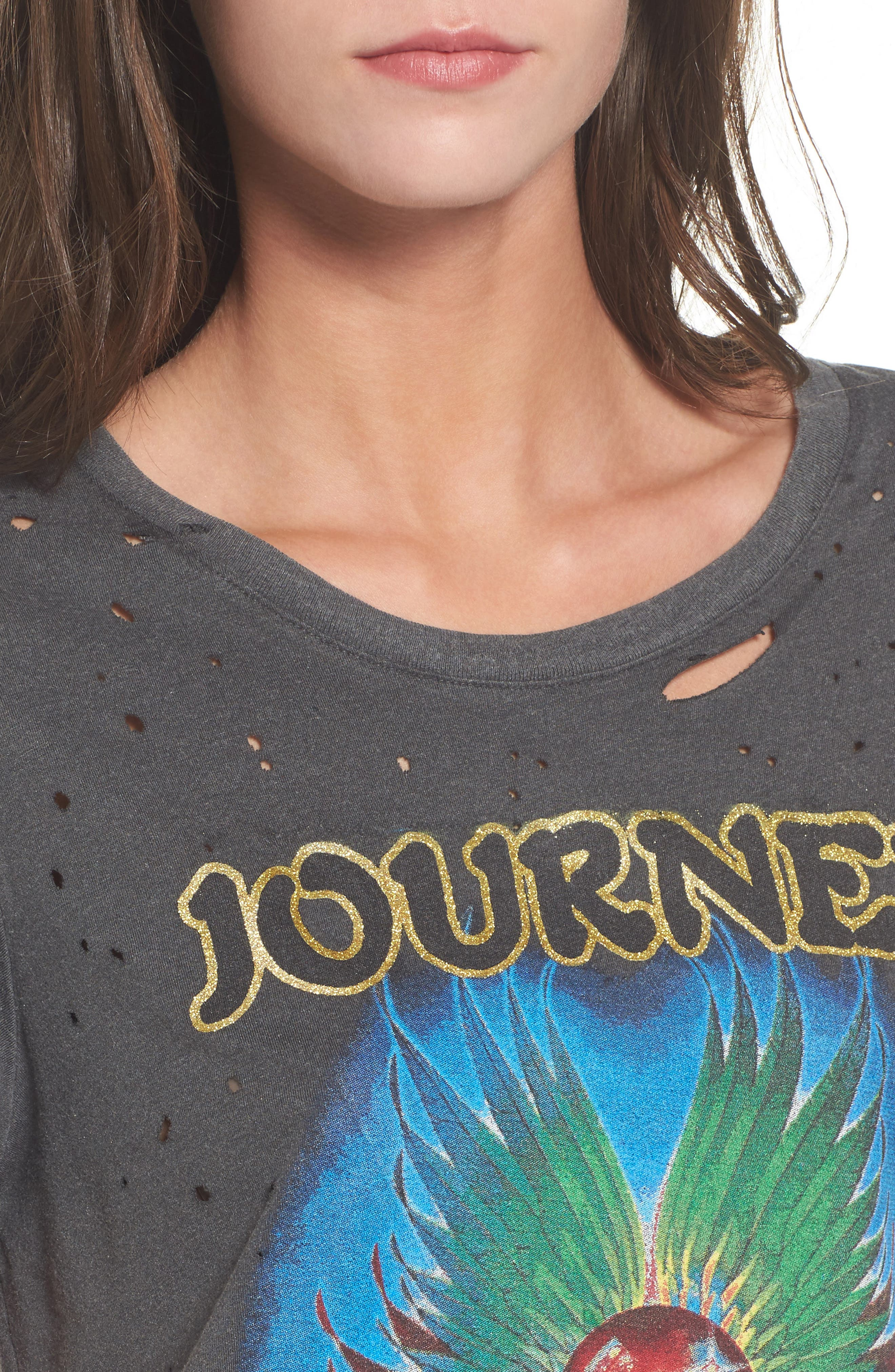 Journey Ripped Graphic Tee,                             Alternate thumbnail 4, color,                             001