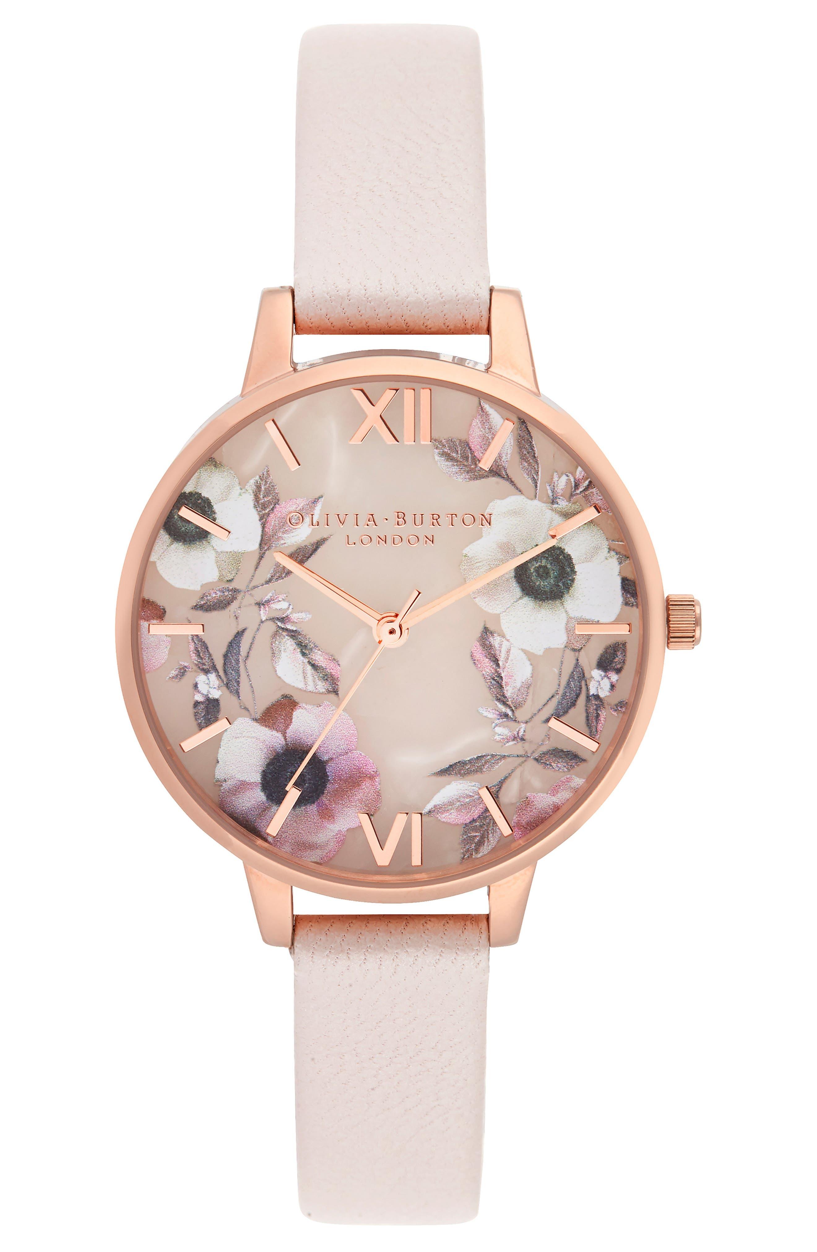 Semi Precious Rose Quartz Watch, 34 Mm in Pearl Pink/Rose Flor/Rosegold