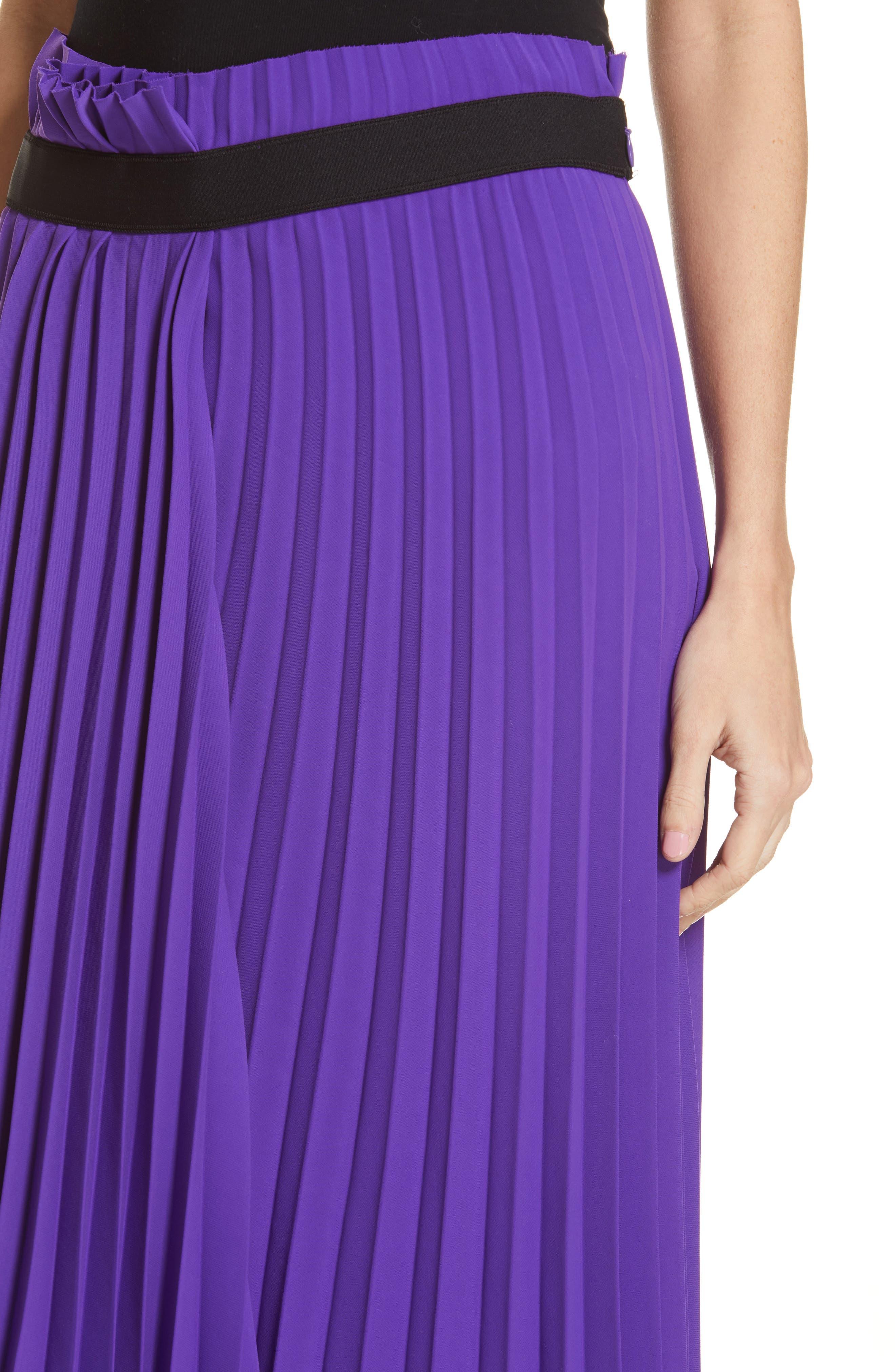 Fancy Asymmetrical Pleated Crepe Skirt,                             Alternate thumbnail 4, color,                             ULTRAVIOLET