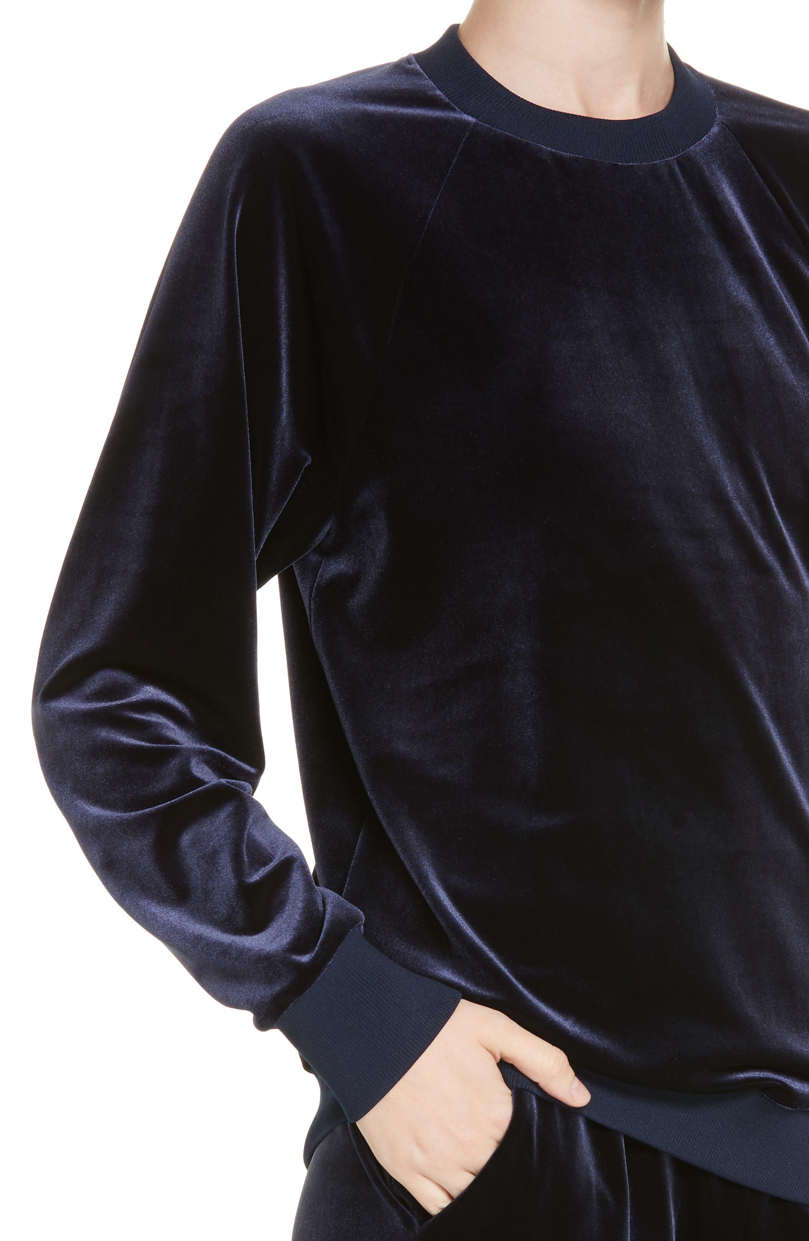 Easy Velvet Sweatshirt,                             Alternate thumbnail 4, color,                             NAVY