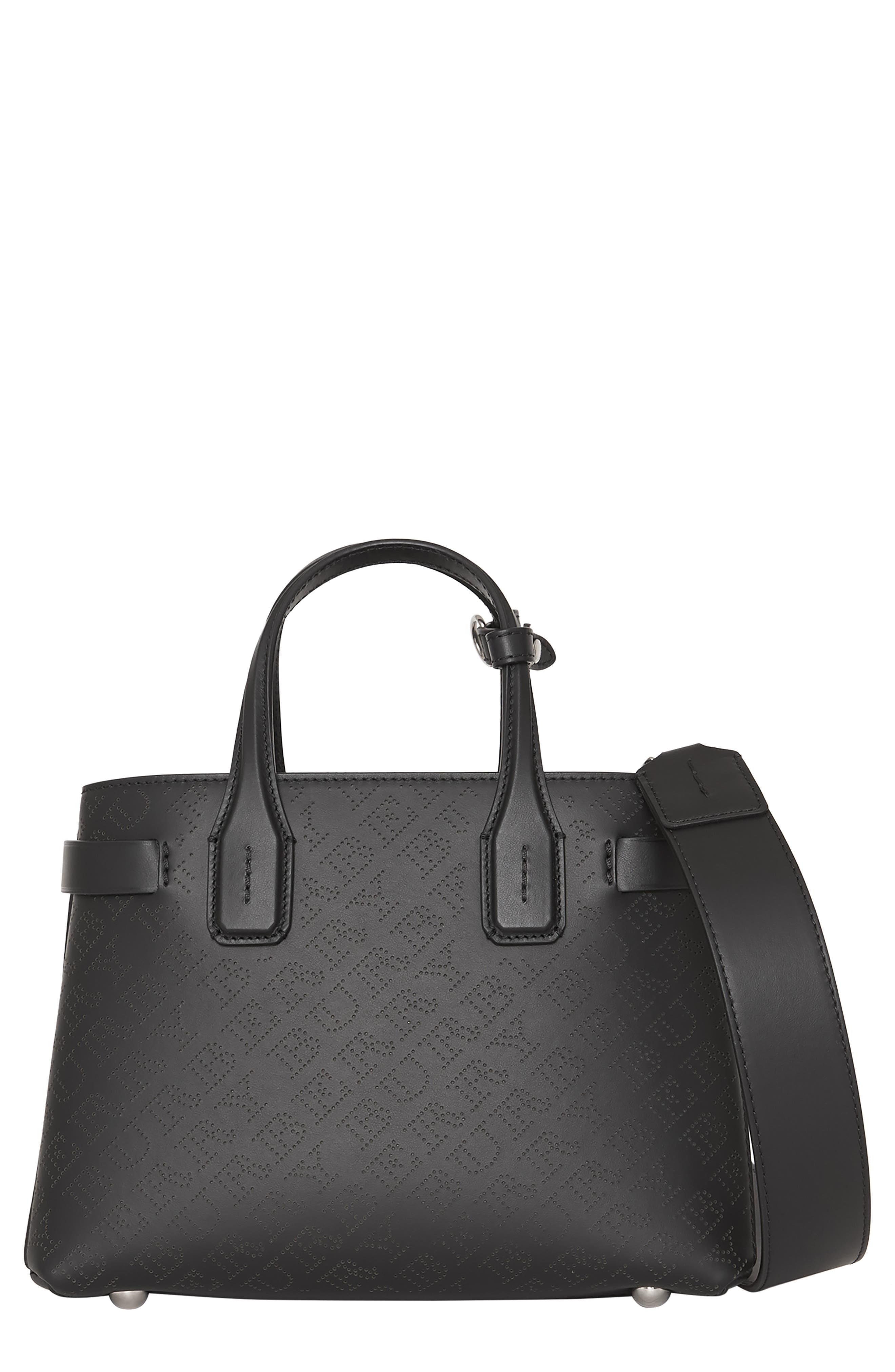 Small Banner Perforated Leather Tote,                         Main,                         color, BLACK