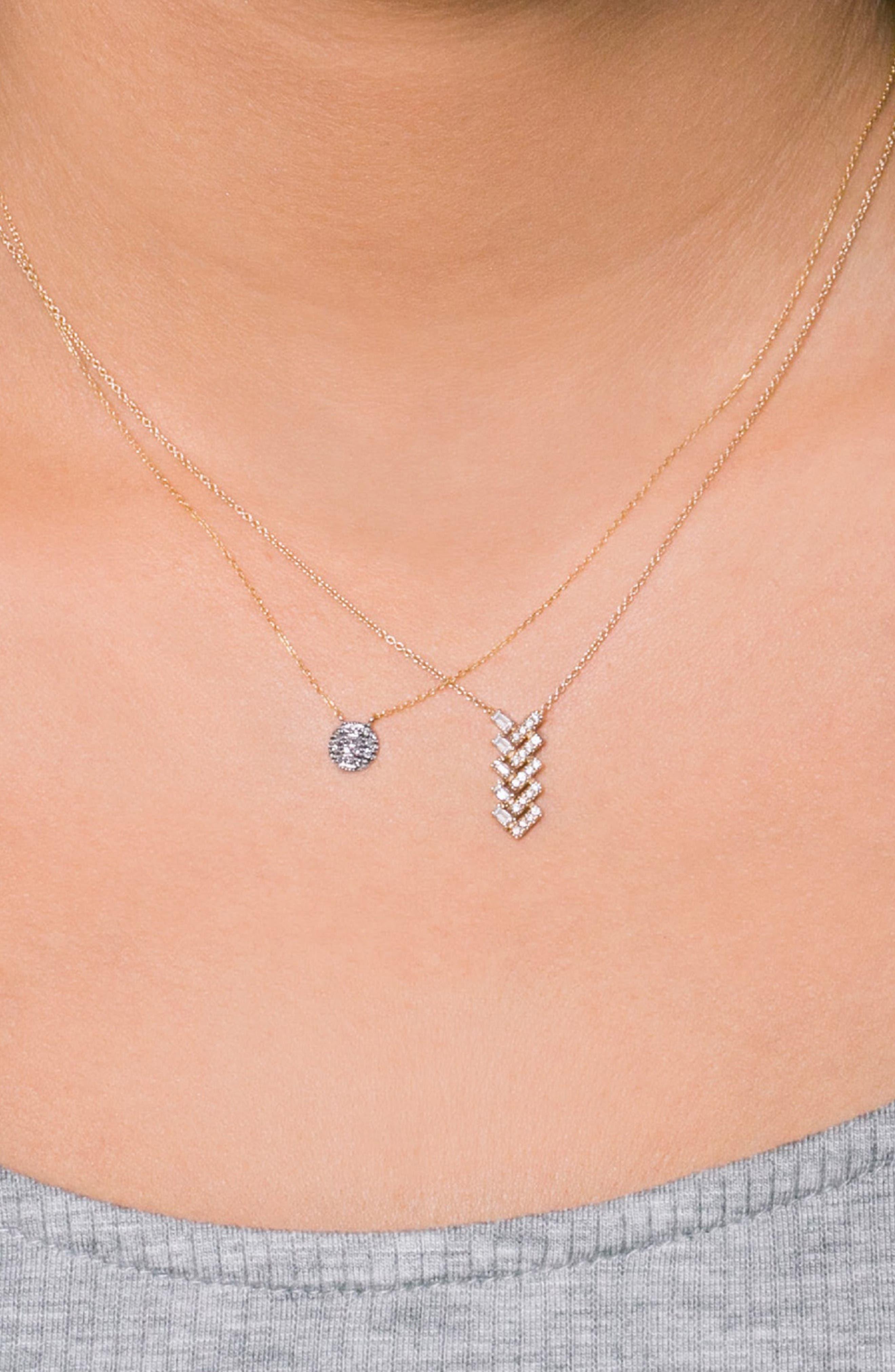 'Lauren Joy' Diamond Disc Pendant Necklace,                             Alternate thumbnail 2, color,                             YELLOW GOLD