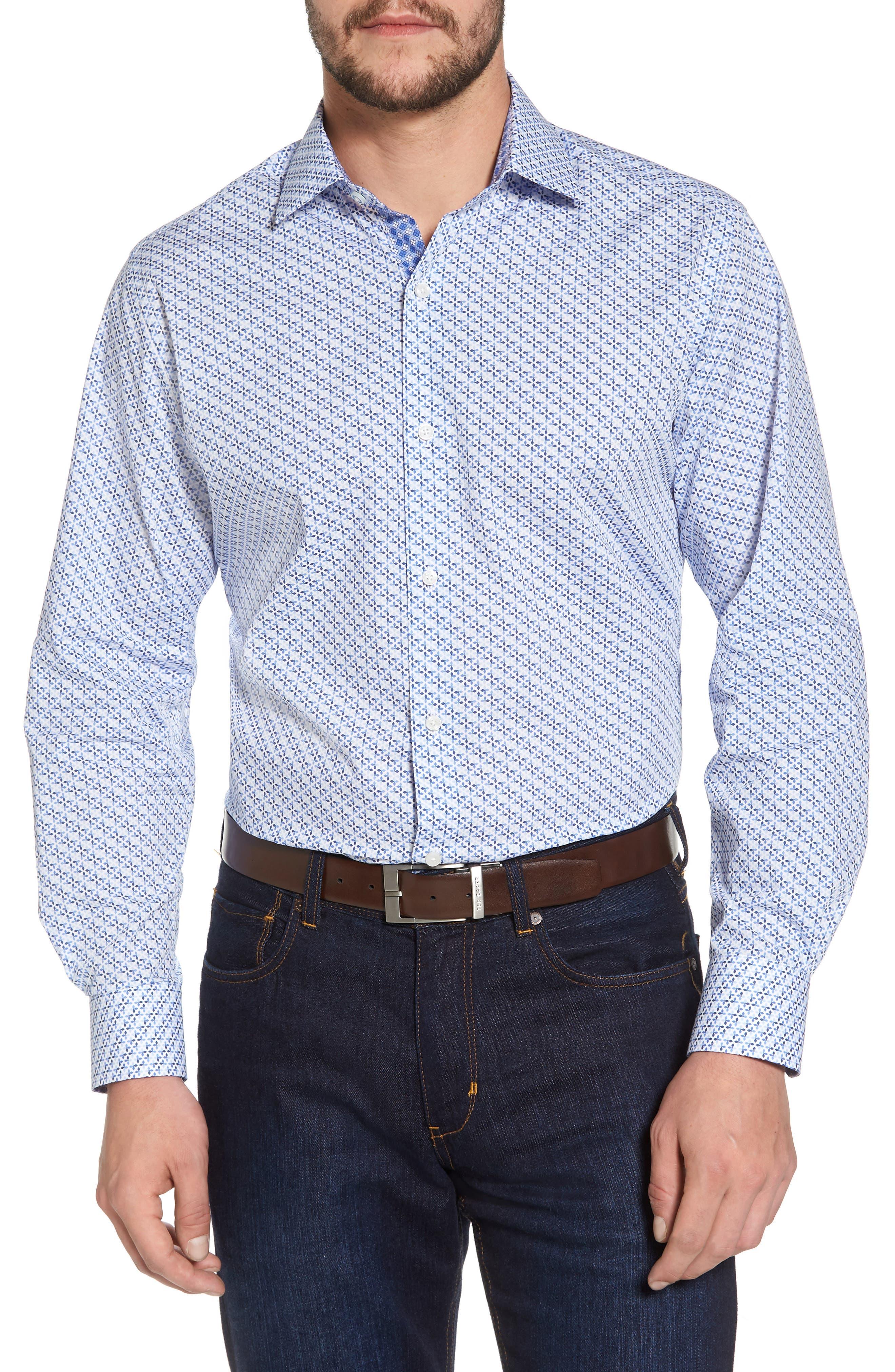 Simon Regular Fit Geo Print Sport Shirt,                         Main,                         color, 450