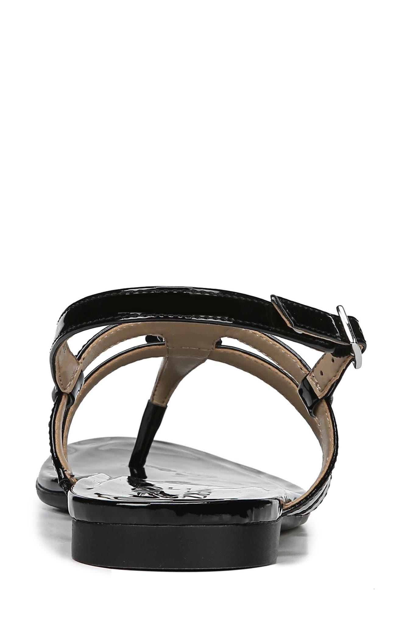 Tilly Embellished Sandal,                             Alternate thumbnail 7, color,                             BLACK PATENT FAUX LEATHER