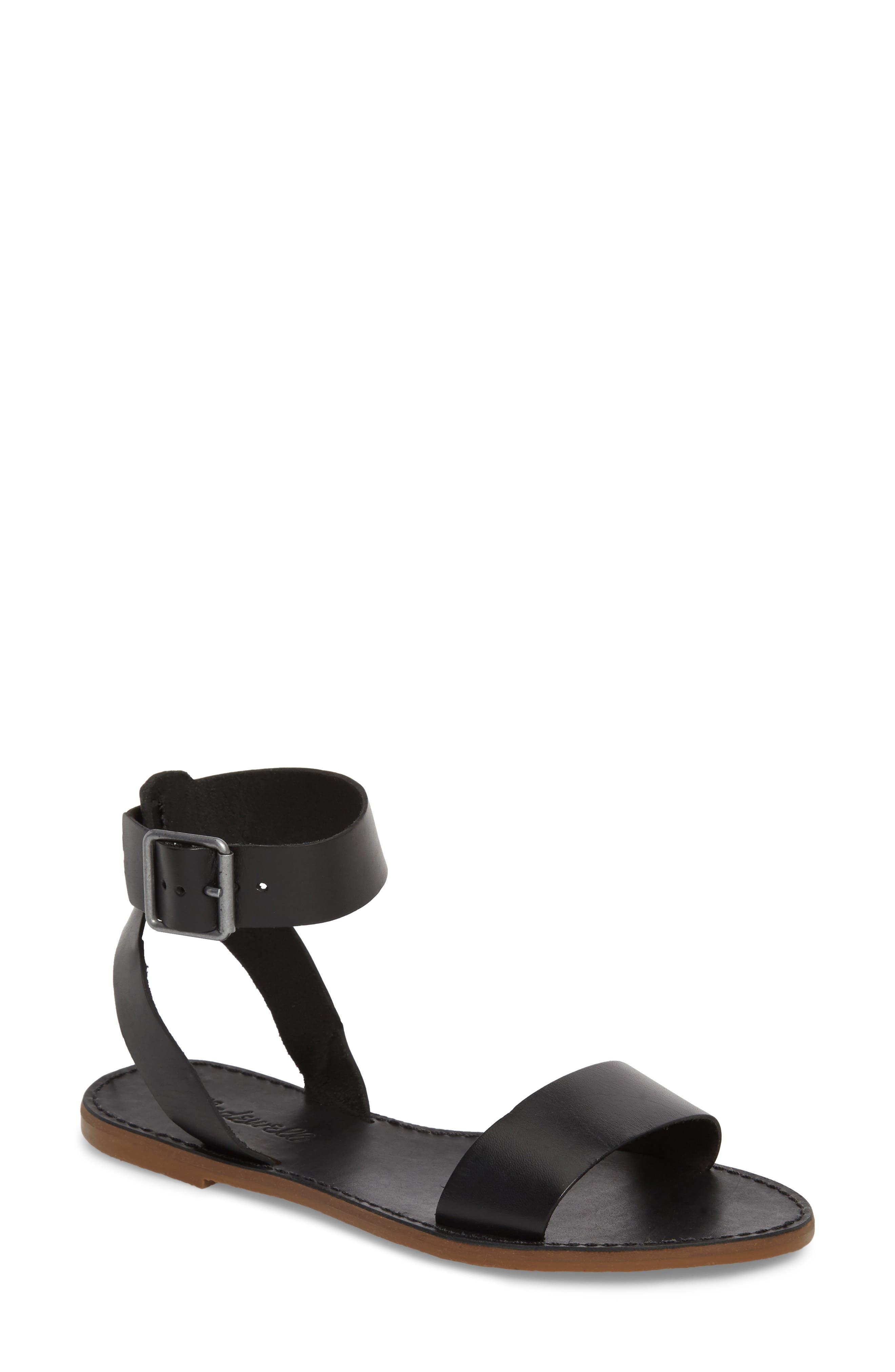 The Boardwalk Ankle Strap Sandal,                             Main thumbnail 1, color,                             TRUE BLACK LEATHER