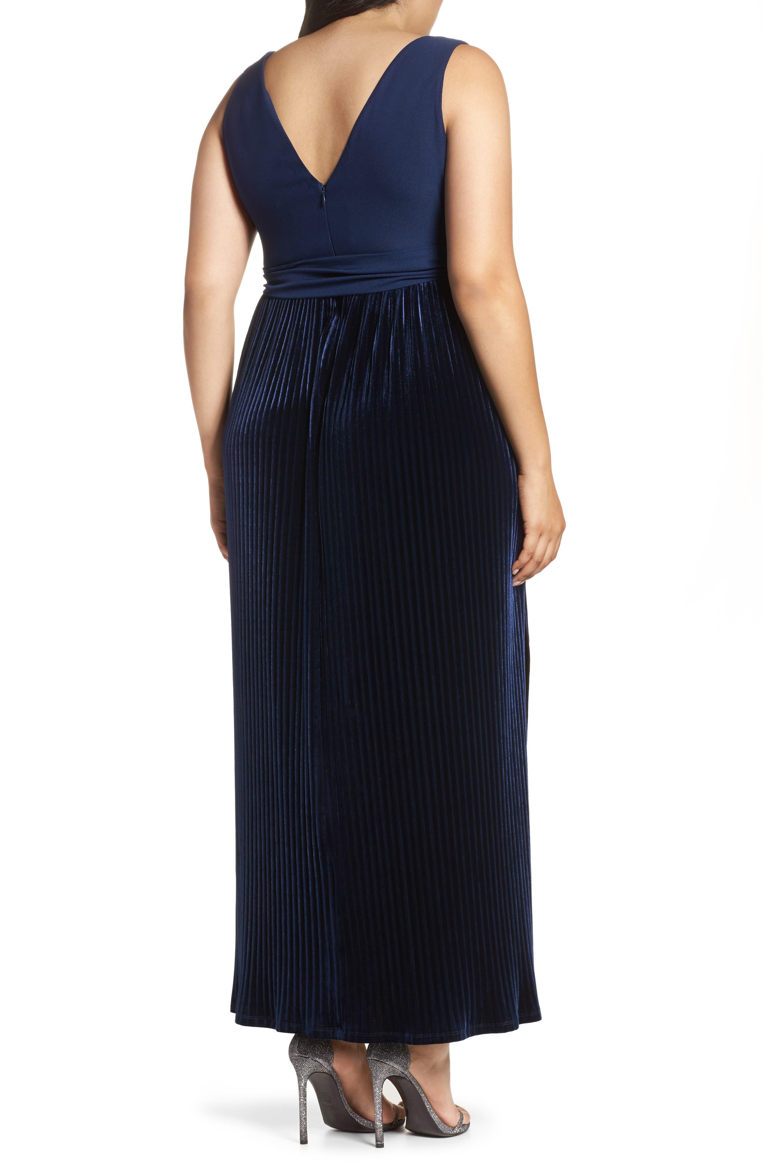 Crepe & Pleat Velvet Maxi Dress,                             Alternate thumbnail 2, color,