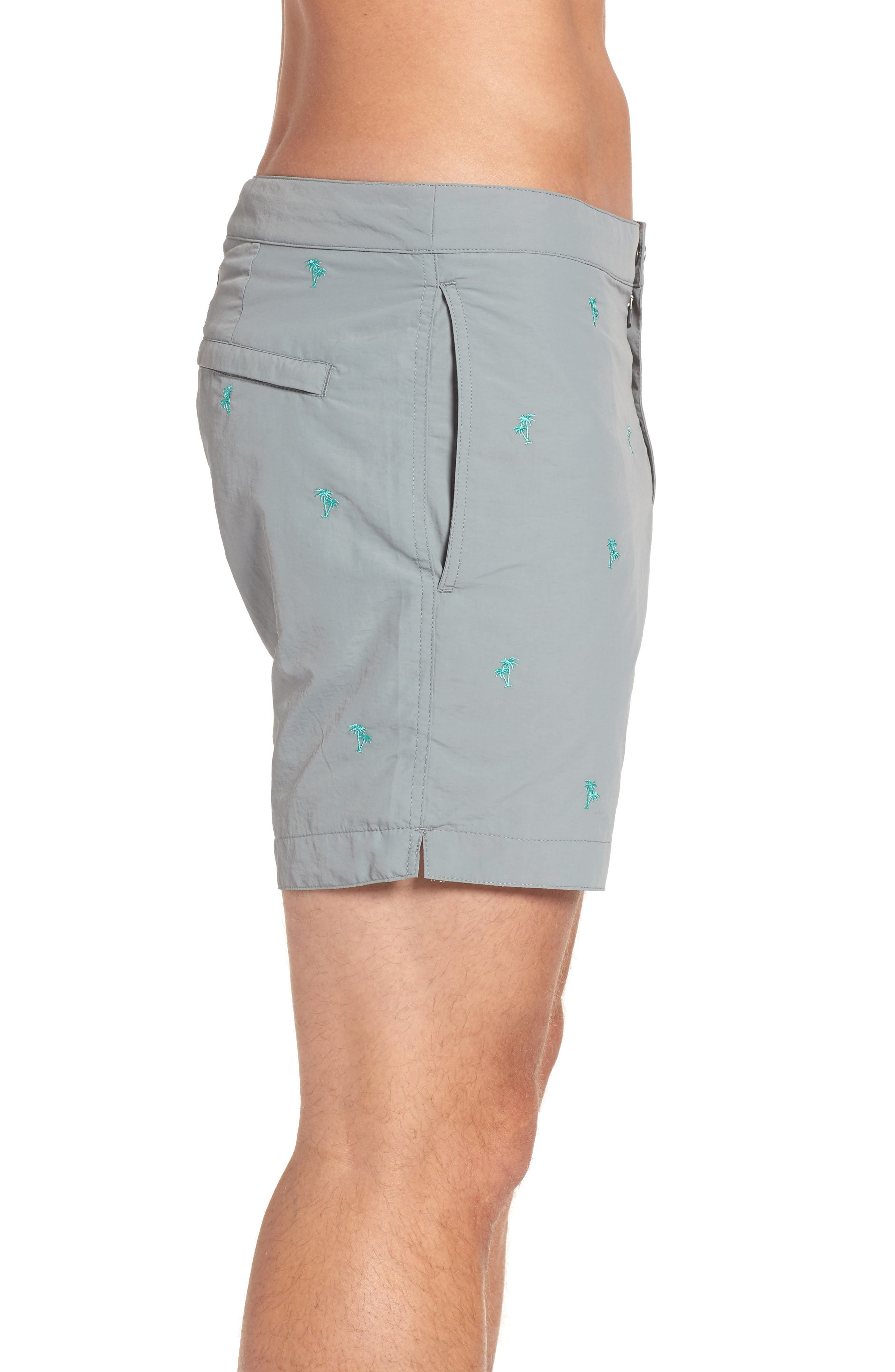 Aruba Tailored Fit Embroidered Palm Swim Trunks,                             Alternate thumbnail 3, color,                             031
