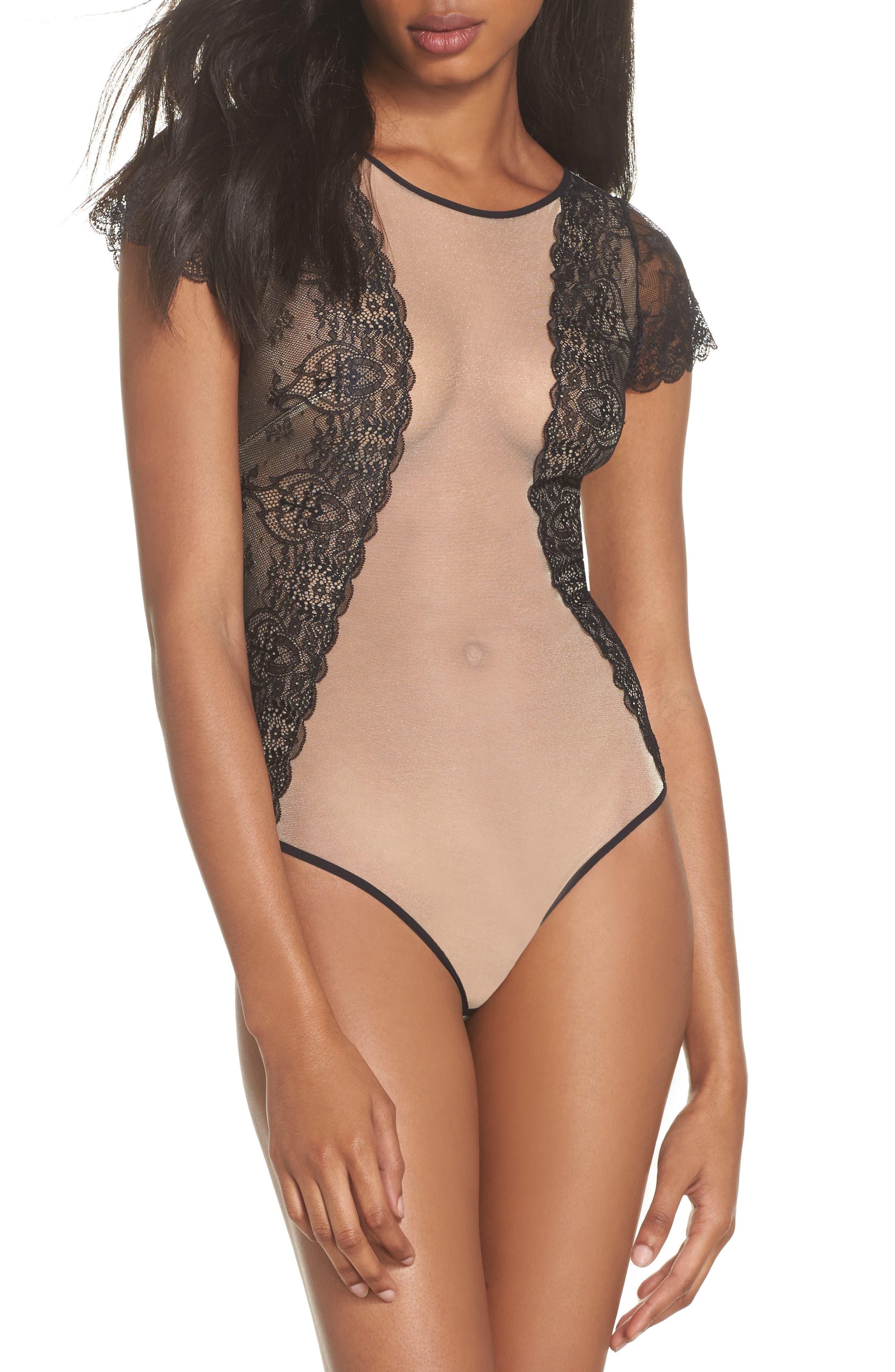 L'Antichambre Mesh & Lace Thong Bodysuit,                         Main,                         color, 001