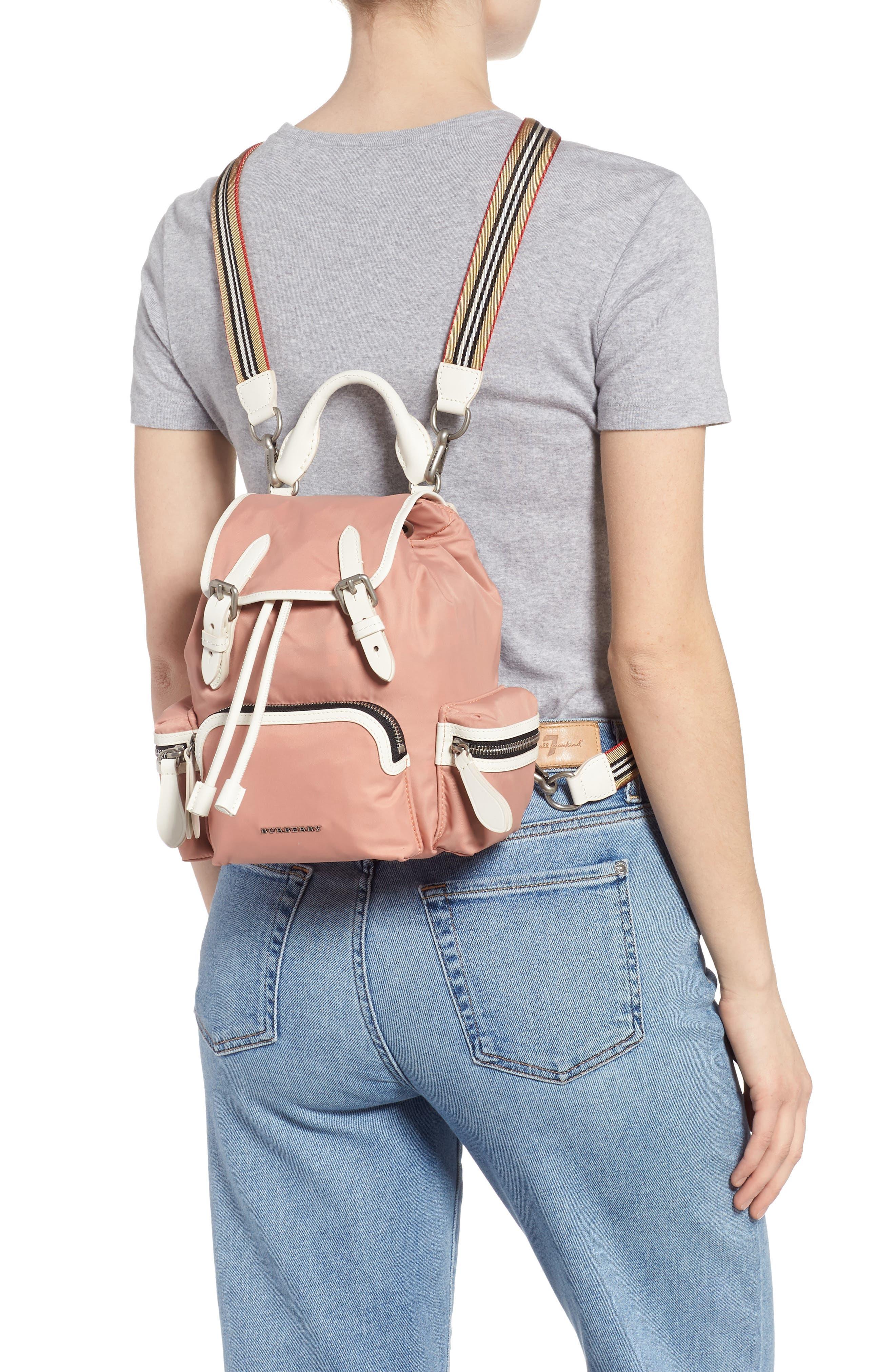 Small Rucksack Nylon Backpack,                             Alternate thumbnail 2, color,                             POWDER PINK