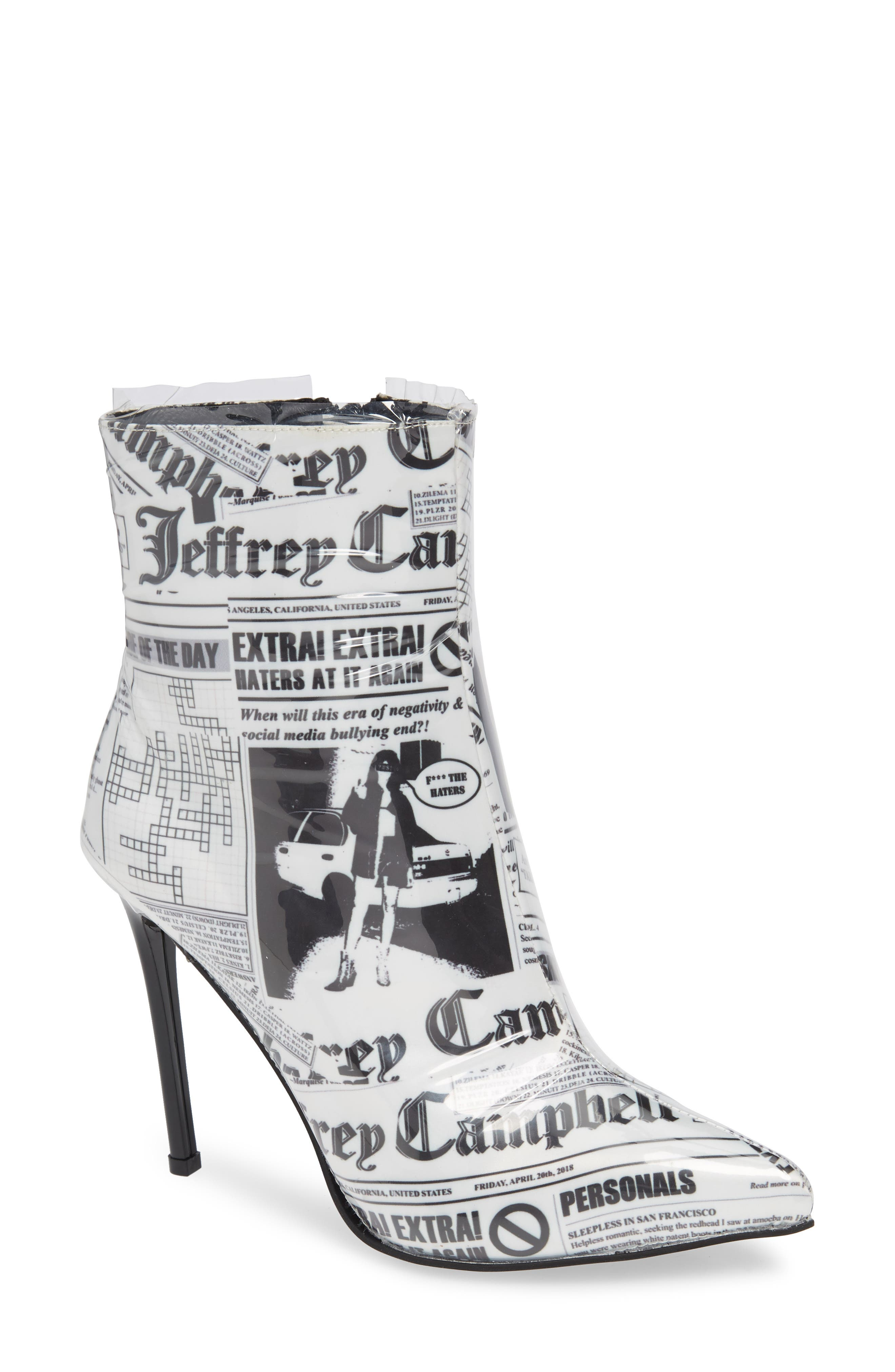Achava-2P Bootie,                             Main thumbnail 1, color,                             NEWSPAPER PRINT CLEAR