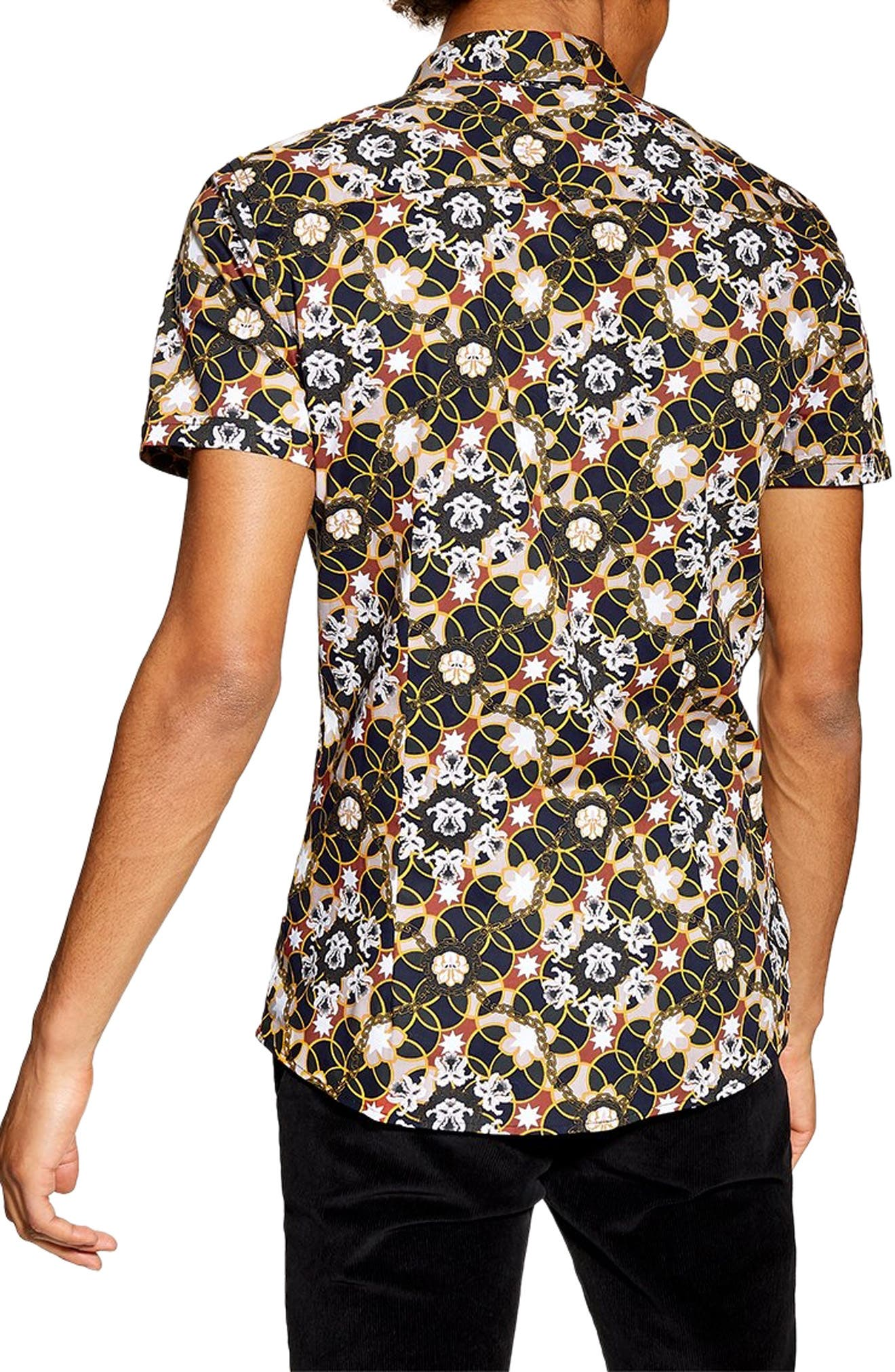 Star Floral Skinny Smart Woven Shirt,                             Alternate thumbnail 3, color,                             BLUE MULTI