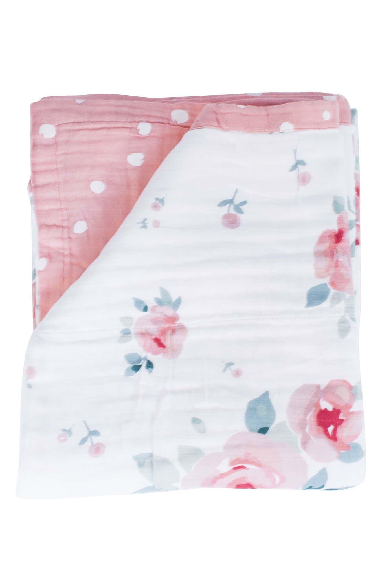 BÉBÉ AU LAIT Oh So Soft Super Snuggle Blanket, Main, color, ROSY/ DEWDROPS